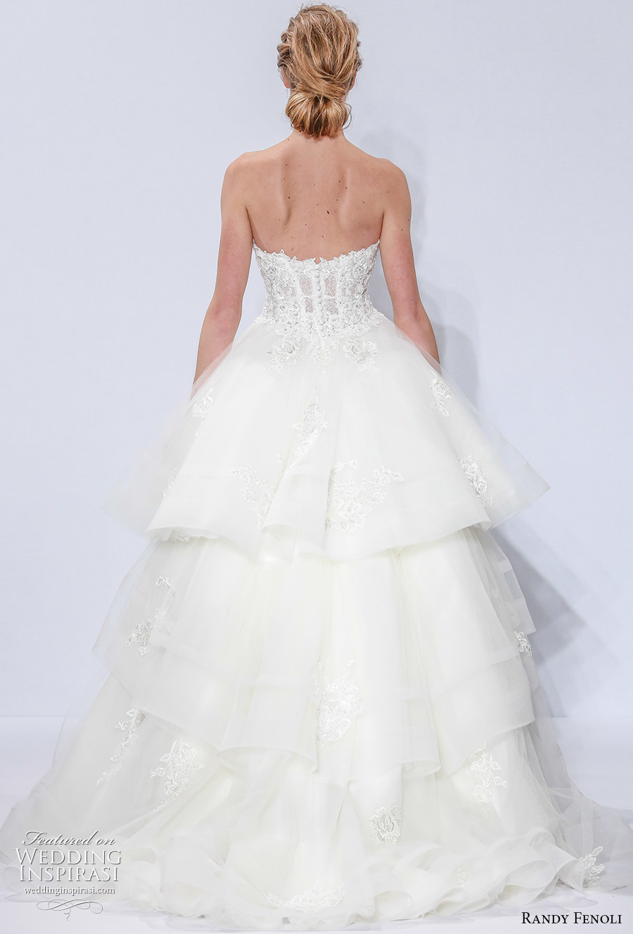 randy fenoli spring 2018 bridal strapless sweertheart neckline heavily embellished bodice bustier layered skirt romantic sexy a  line wedding dress sweep train (09) bv