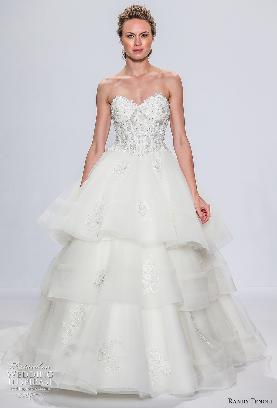 randy fenoli spring 2018 bridal strapless sweertheart neckline heavily embellished bodice bustier layered skirt romantic sexy a  line wedding dress sweep train (09) mv