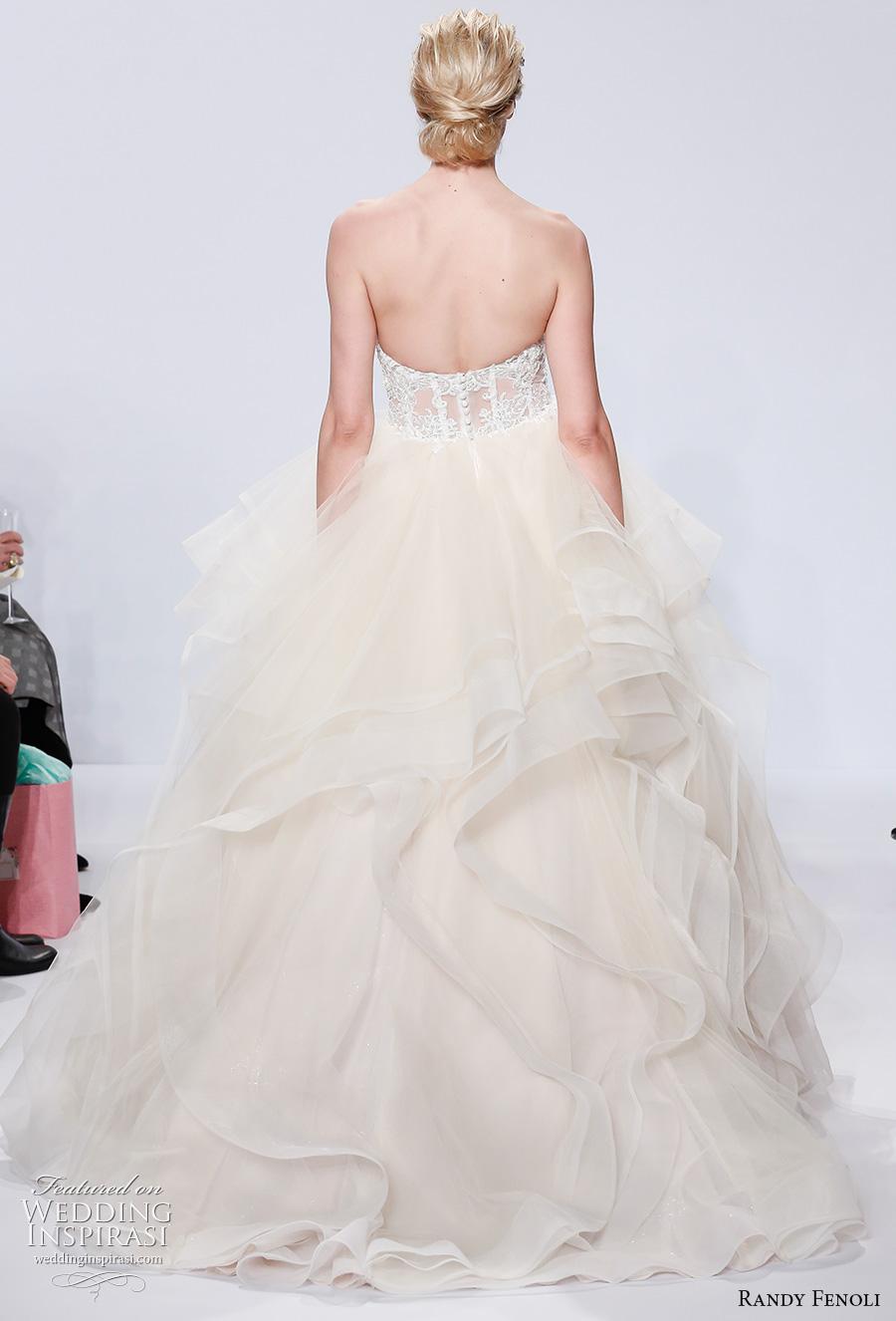 randy fenoli spring 2018 bridal strapless sweetheart neckline bustier layered skirt princess ball gown wedding dress chapel train (14) bv