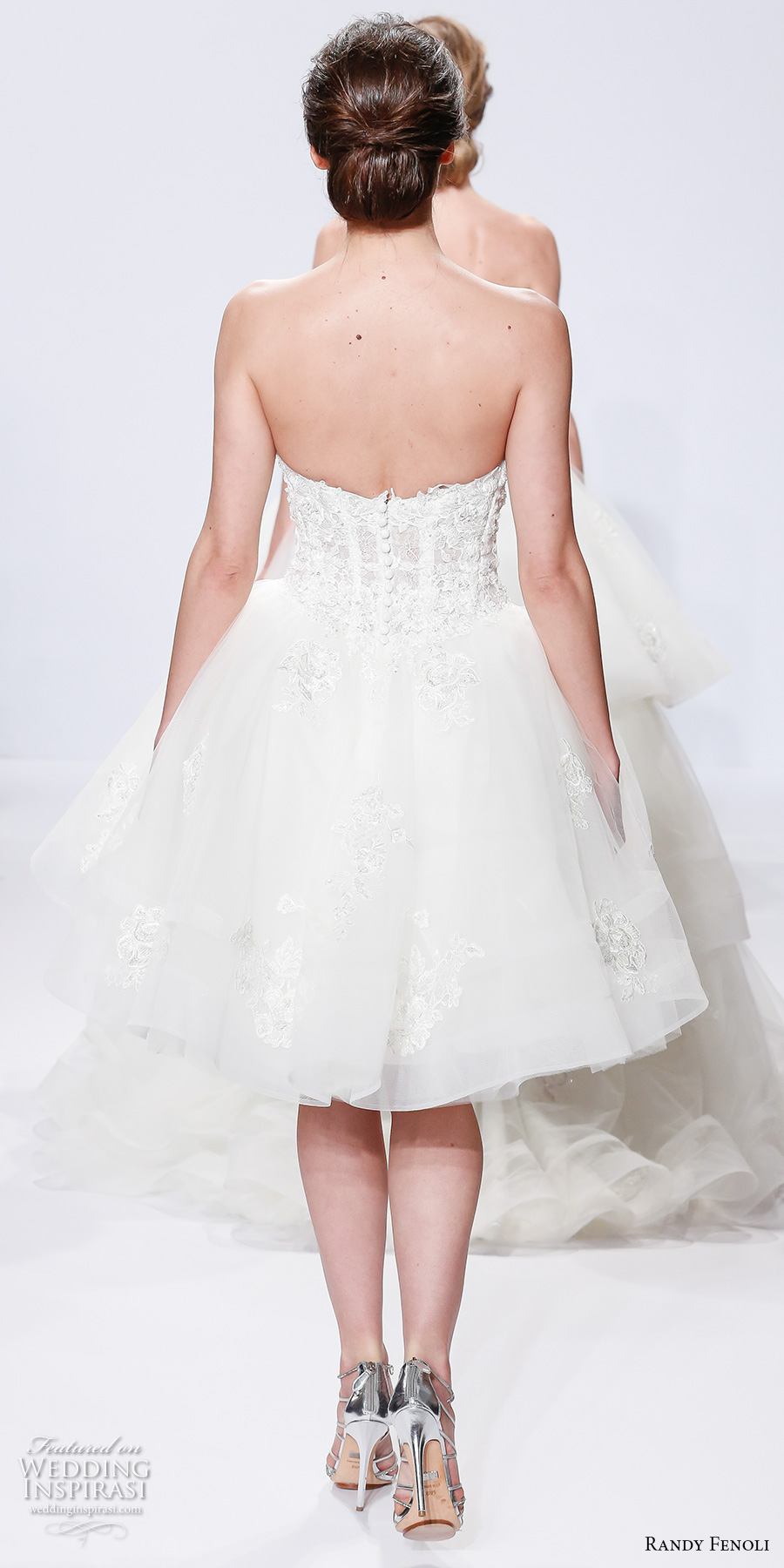 randy fenoli spring 2018 bridal strapless sweetheart neckline heavily embellished bodice bustier romantic above the knee short wedding dress (25) bv
