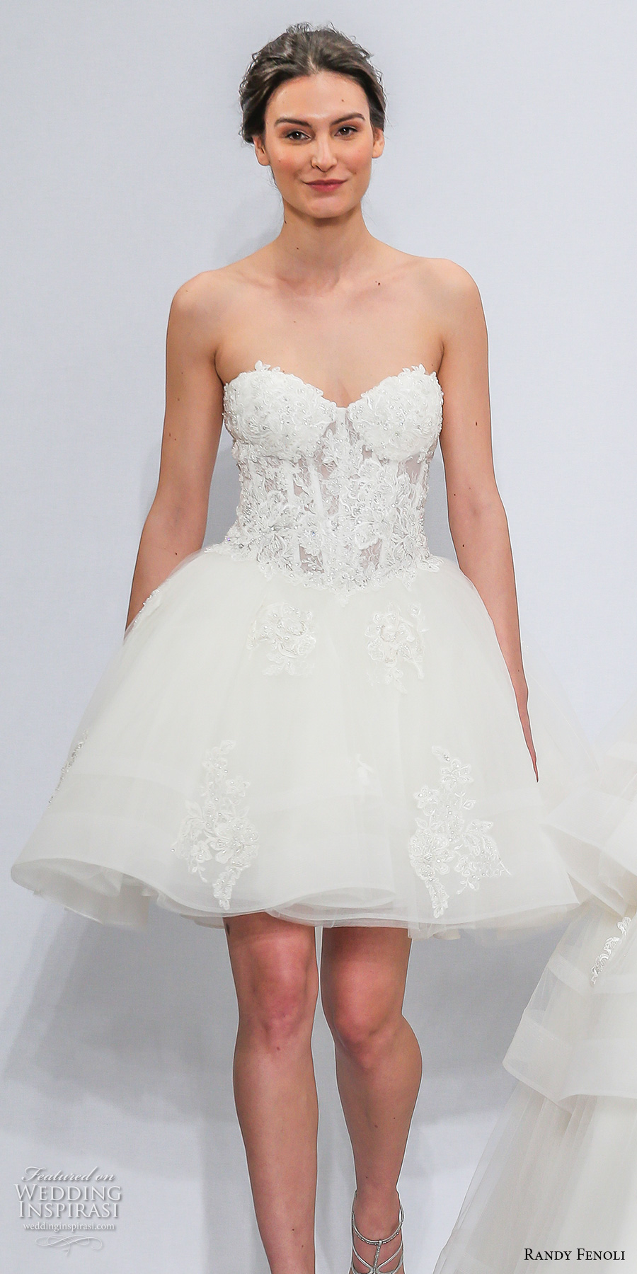 randy fenoli spring 2018 bridal strapless sweetheart neckline heavily embellished bodice bustier romantic above the knee short wedding dress (25) mv