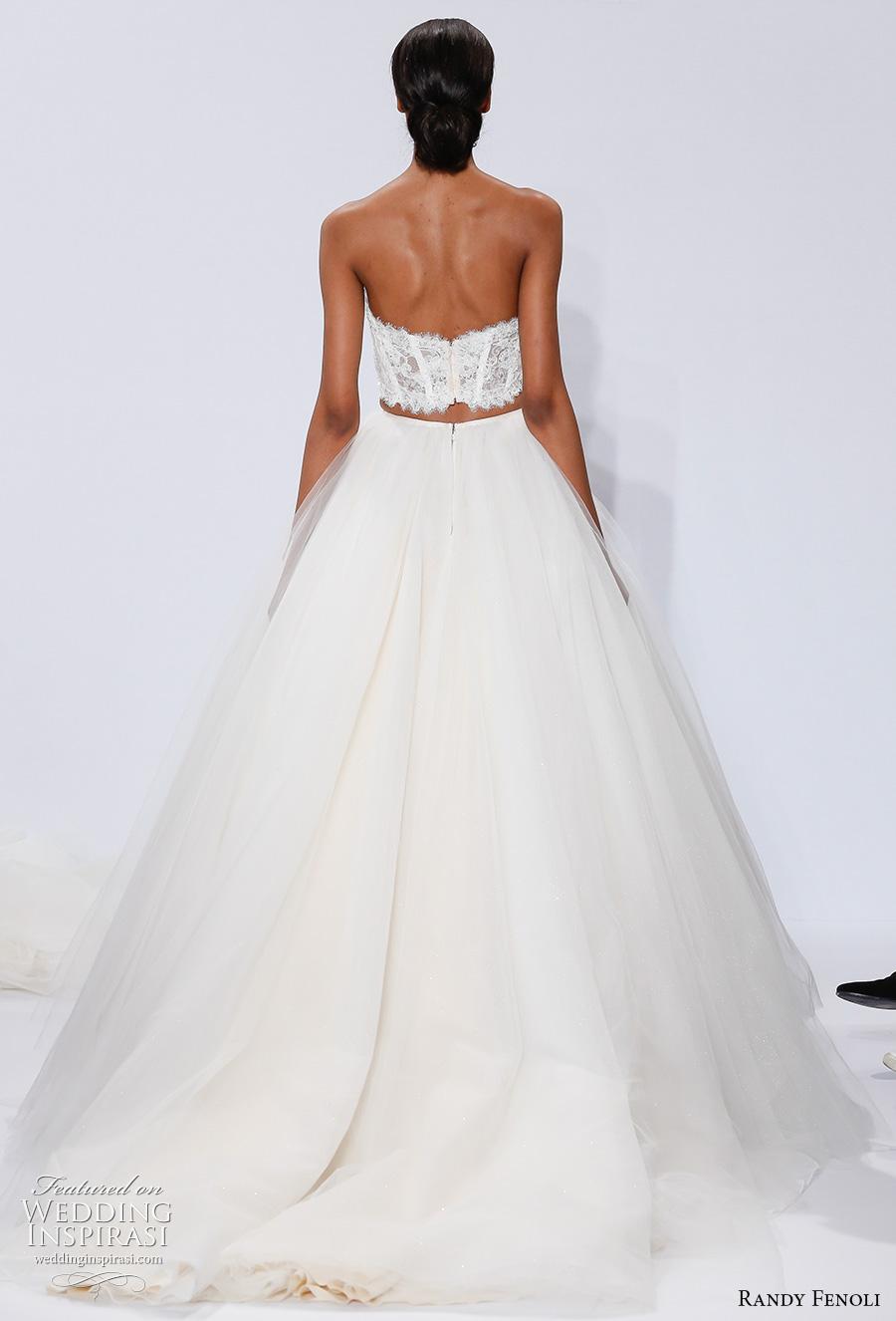 randy fenoli spring 2018 bridal strapless sweetheart neckline heavily embellished bodice corset 2 piece romantic a  line wedding dress chapel train (23) bv