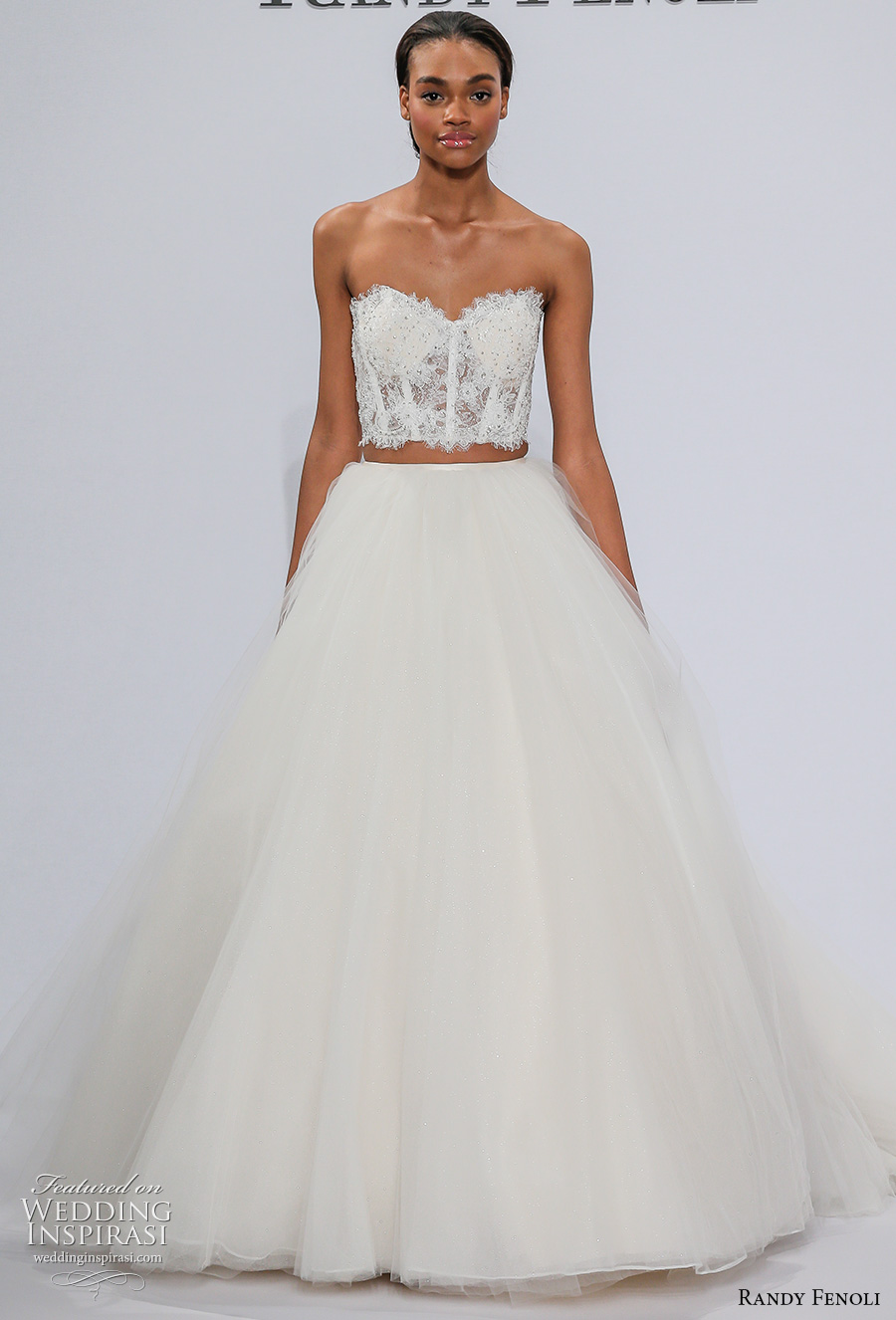 randy fenoli spring 2018 bridal strapless sweetheart neckline heavily embellished bodice corset 2 piece romantic a  line wedding dress chapel train (23) mv