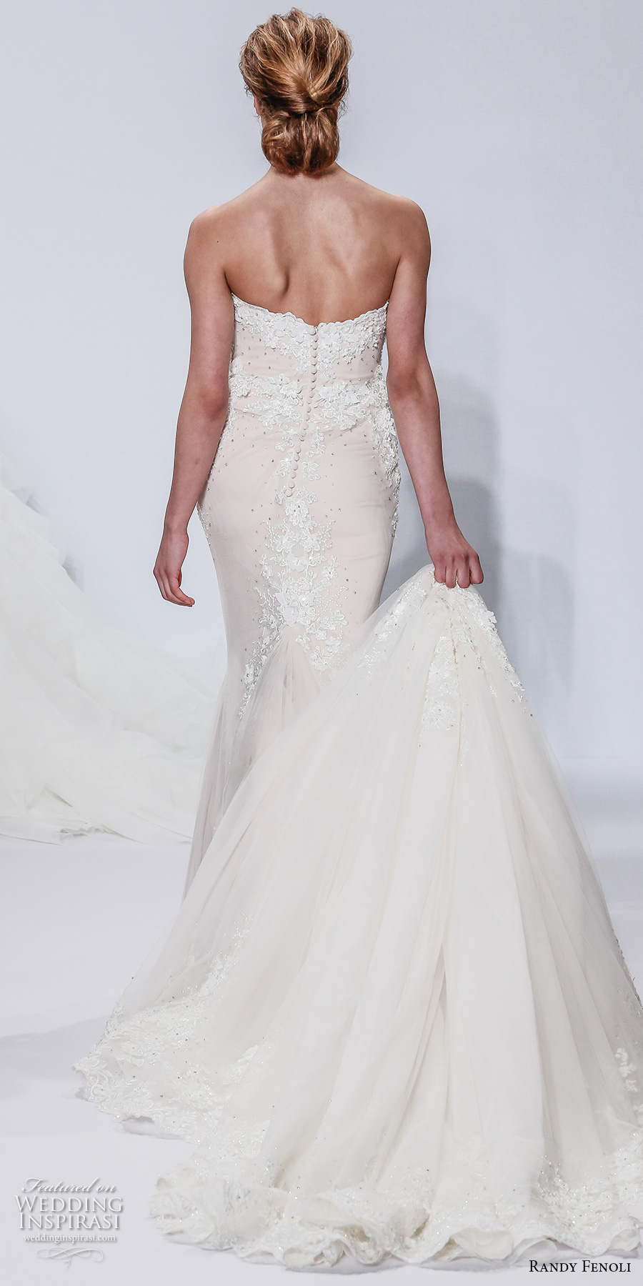 randy fenoli spring 2018 bridal strapless sweetheart neckline heavily embellished bodice elegant romantic fit and flare wedding dress a  line overskirt chapel train (03) bv