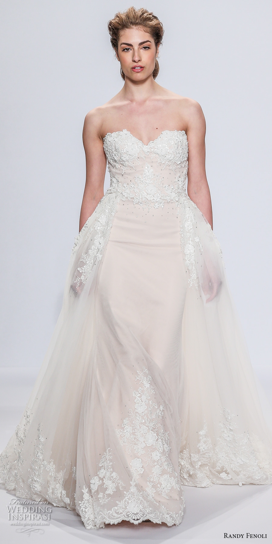 randy fenoli spring 2018 bridal strapless sweetheart neckline heavily embellished bodice elegant romantic fit and flare wedding dress a  line overskirt chapel train (03) mv