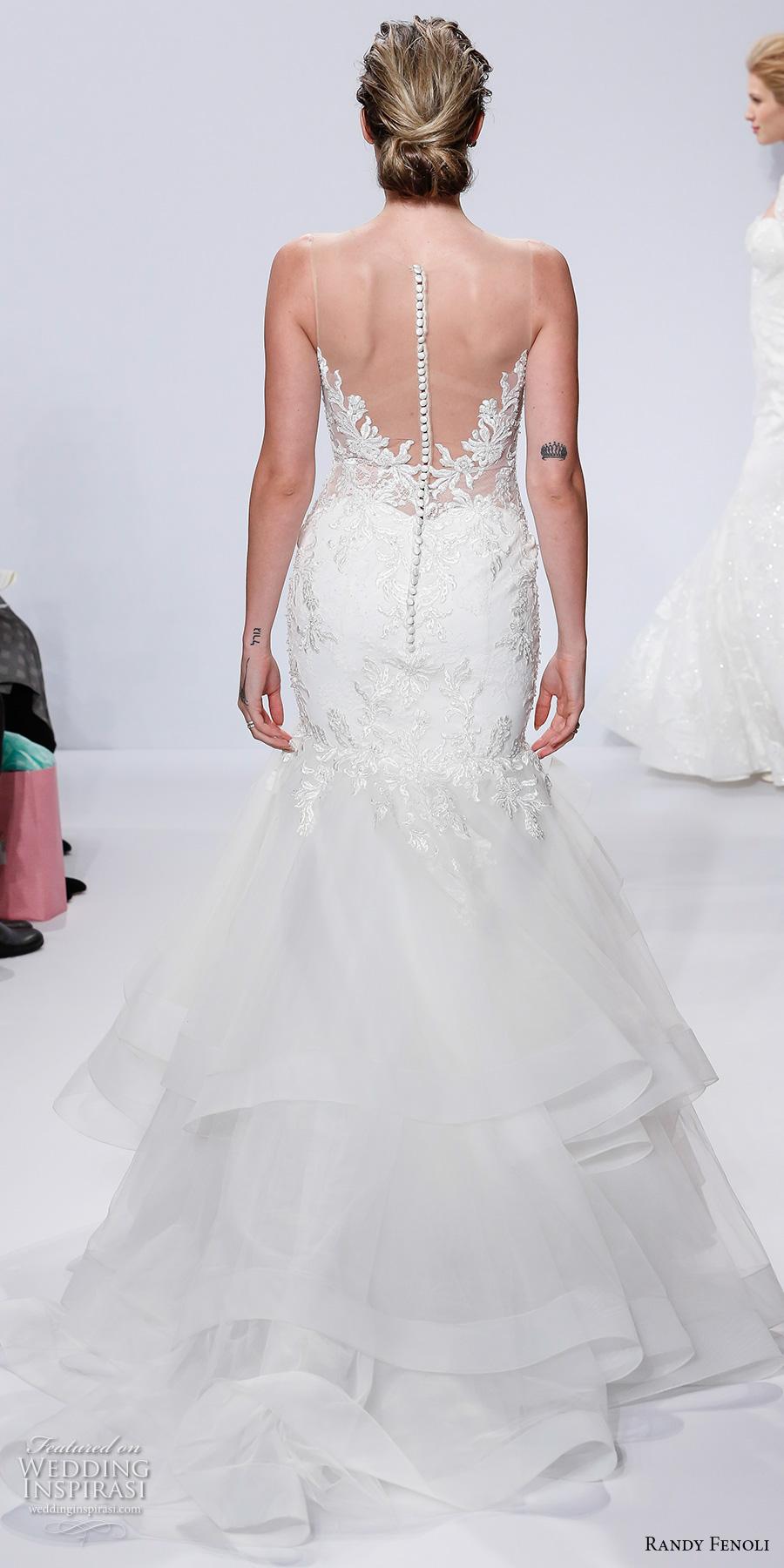 randy fenoli spring 2018 bridal strapless sweetheart neckline heavily embellished bodice layered skirt elegant mermaid wedding dress sheer button back chapel train (15) bv