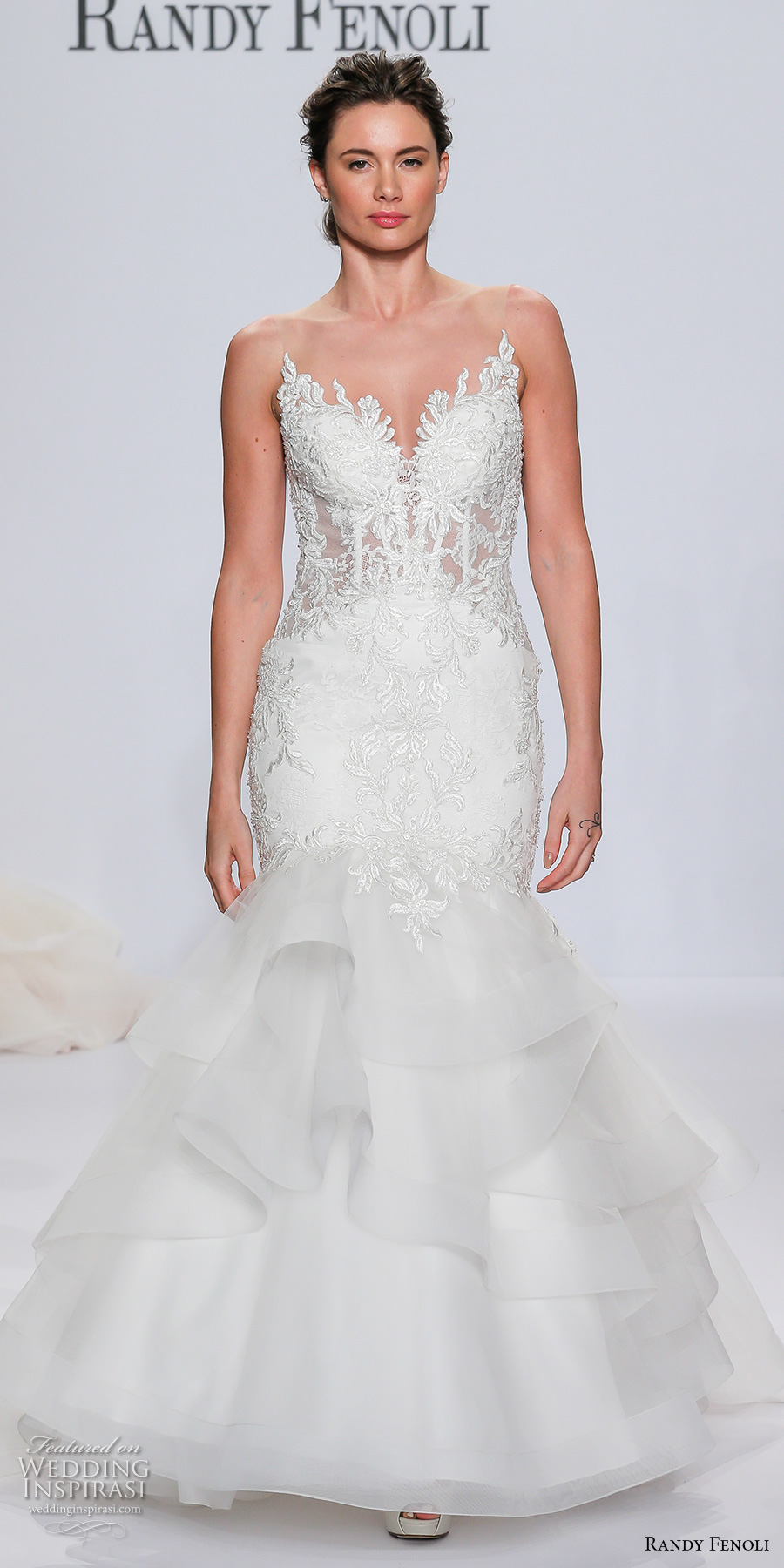 randy fenoli spring 2018 bridal strapless sweetheart neckline heavily embellished bodice layered skirt elegant mermaid wedding dress sheer button back chapel train (15) mv