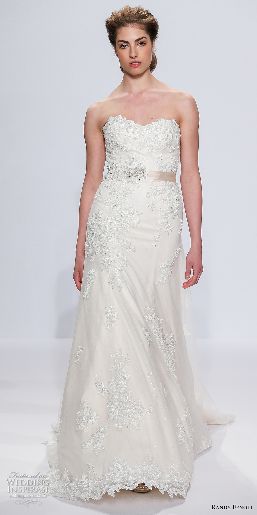 randy fenoli spring 2018 bridal strapless sweetheart neckline heavily embellished bodice romantic modified a  line wedding dress sweep train (20) mv