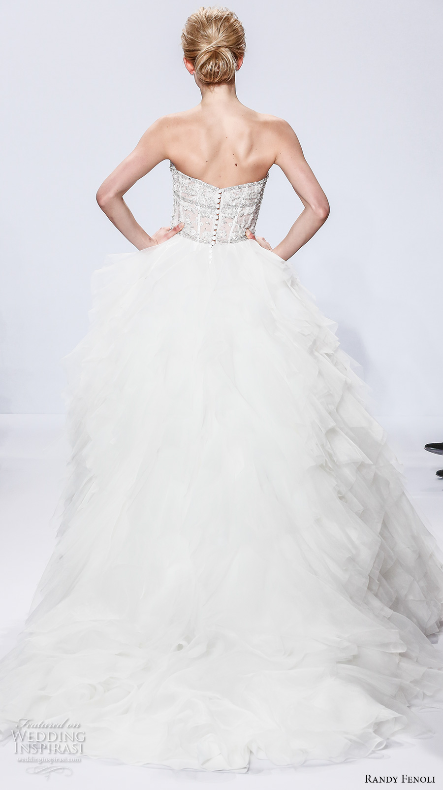 randy fenoli spring 2018 bridal strapless sweetheart neckline heavily embellished bodice ruffled skirt princess ball gown wedding dress chapel train (04) bv