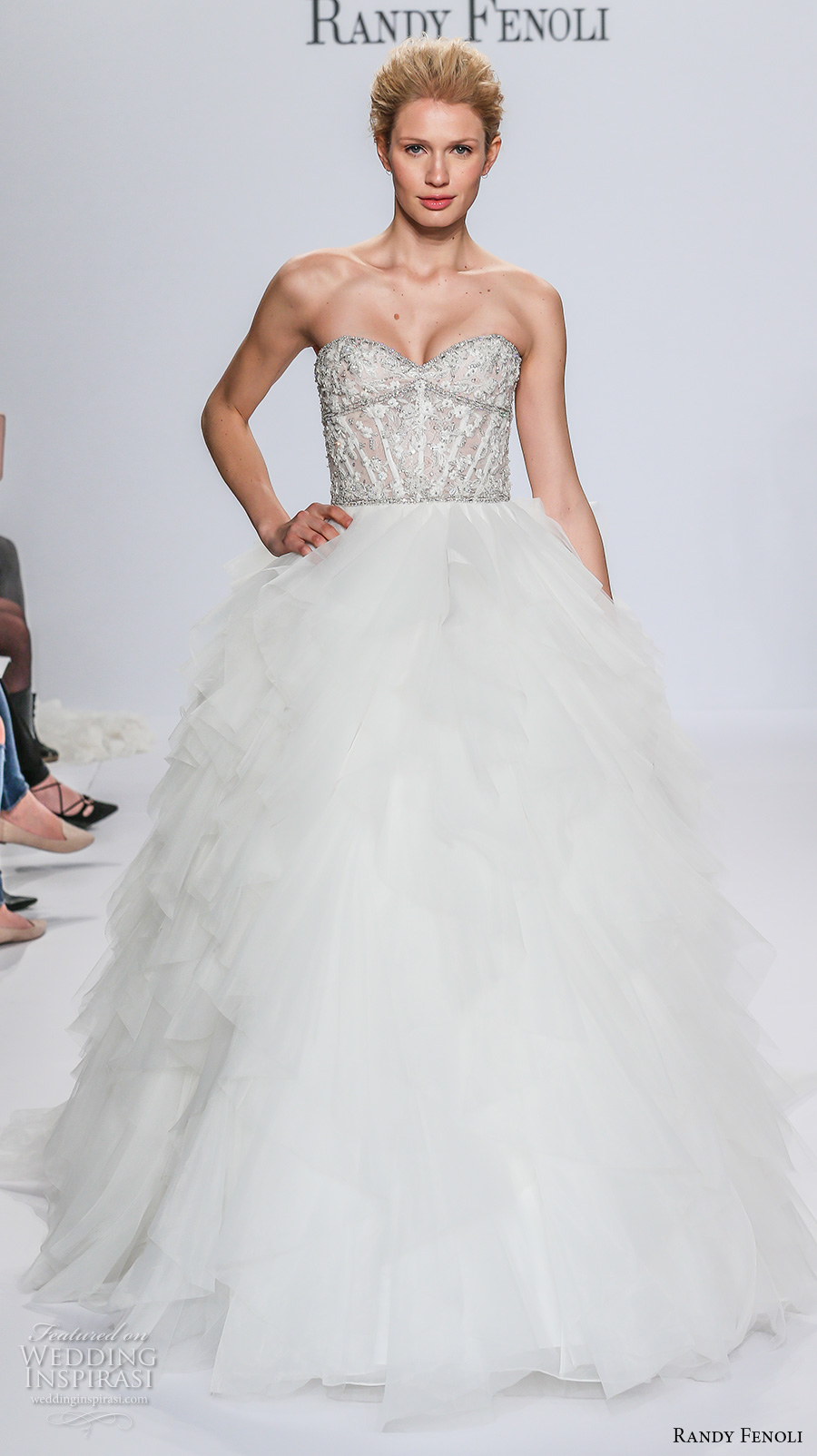 randy fenoli spring 2018 bridal strapless sweetheart neckline heavily embellished bodice ruffled skirt princess ball gown wedding dress chapel train (04) mv
