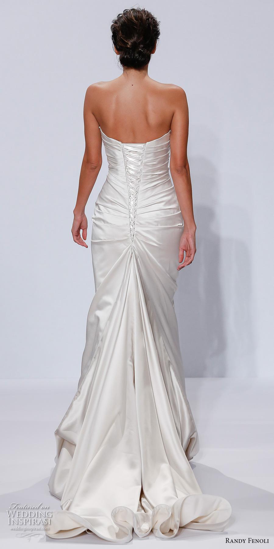 randy fenoli spring 2018 bridal strapless sweetheart neckline ruched bodice satin elegant sheath wedding dress corset back chapel train (17) bv