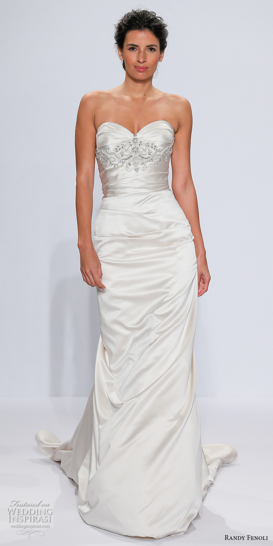 randy fenoli spring 2018 bridal strapless sweetheart neckline ruched bodice satin elegant sheath wedding dress corset back chapel train (17) mv
