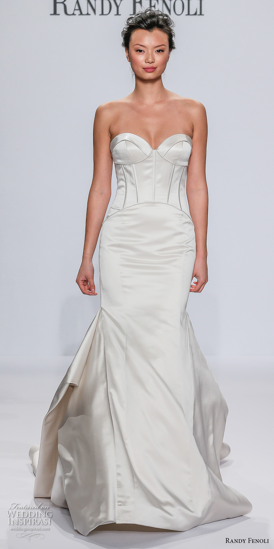 randy fenoli spring 2018 bridal strapless sweetheart neckline simple busiter satin elegant fit and flare wedding dress chapel train (09) mv