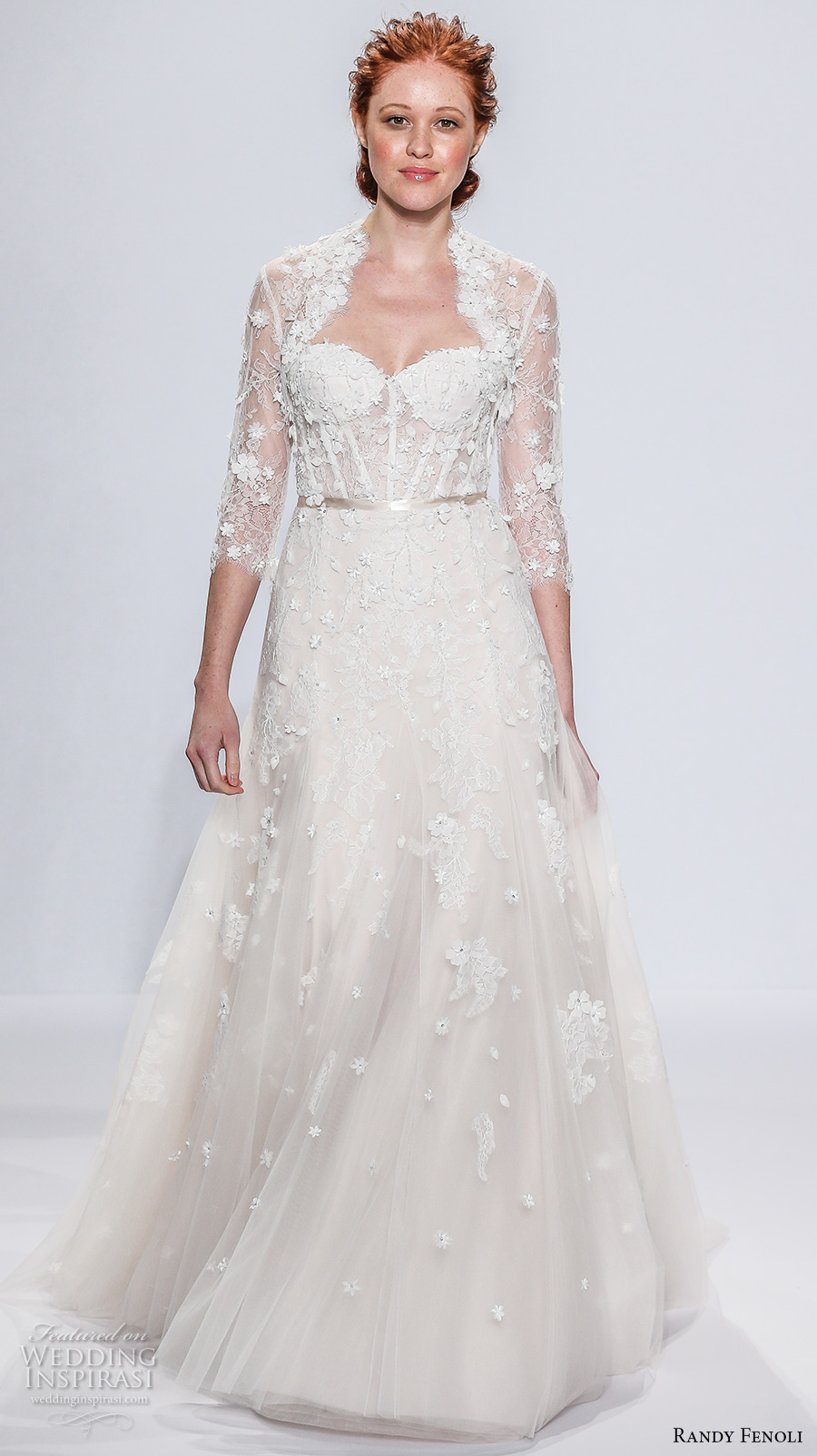 randy fenoli spring 2018 bridal three quarter sleeves halter neck bolero sweetheart neckline heavily embellished bodice bustier elegant romantic a  line wedding dress sweep train (07) mv