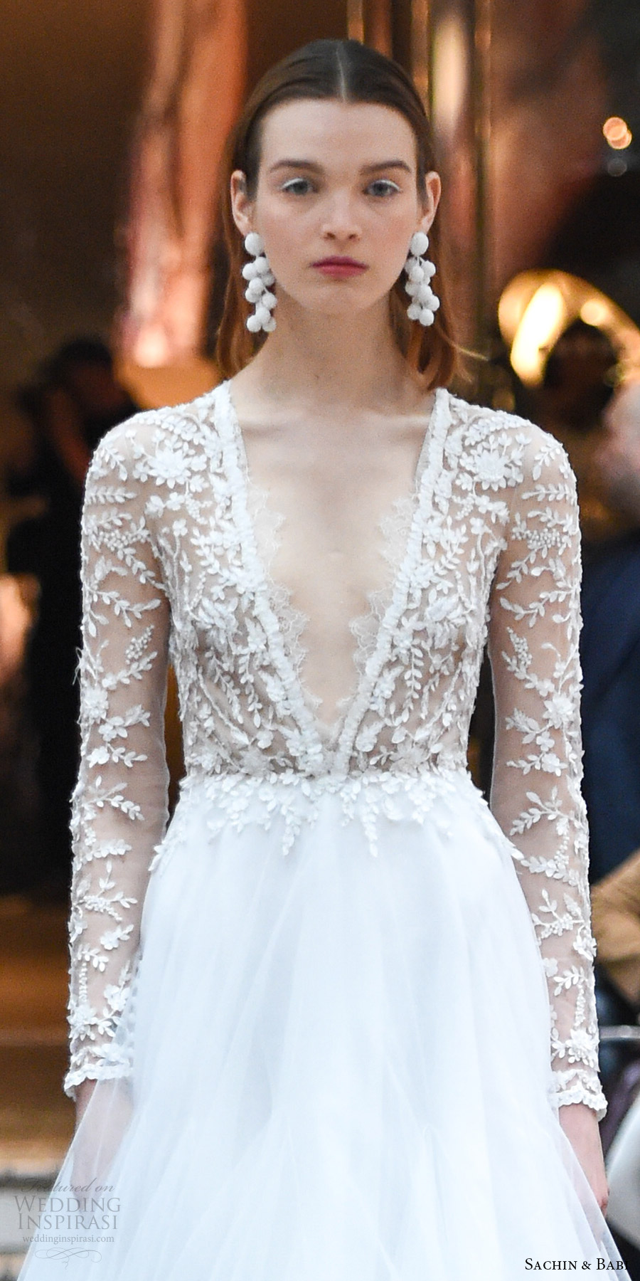 Sachin babi spring 2018 wedding dresses new york bridal sachin babi spring 2018 bridal illusion long sleeves deep v neck sheer bodice a line wedding ombrellifo Image collections