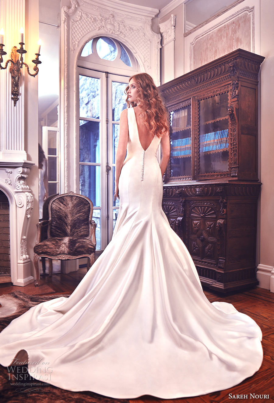 sareh nouri spring 2018 bridal sleeveless v neck simple clean elegant beautiful mermaid wedding dress open v back royal train (mercer) bv
