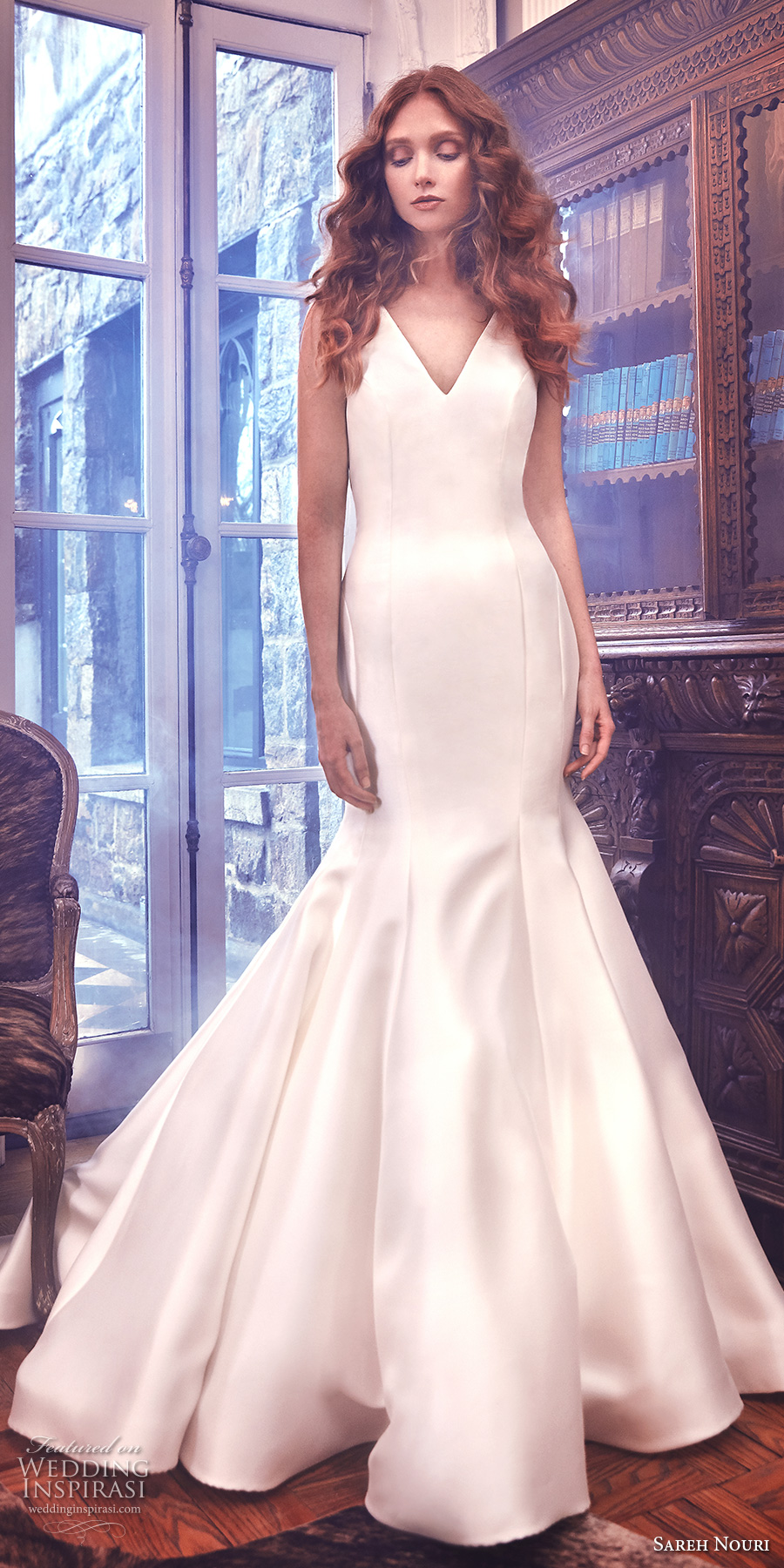 sareh nouri spring 2018 bridal sleeveless v neck simple clean elegant beautiful mermaid wedding dress open v back royal train (mercer) mv