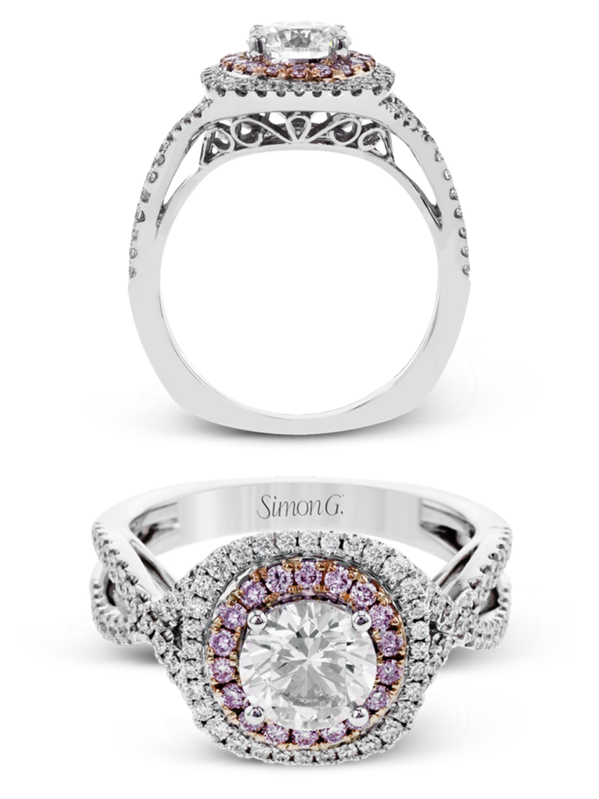 simon g jewelry 2017 trends diamond engagement ring mr2736 white gold rose gold pink diamonds halo ring