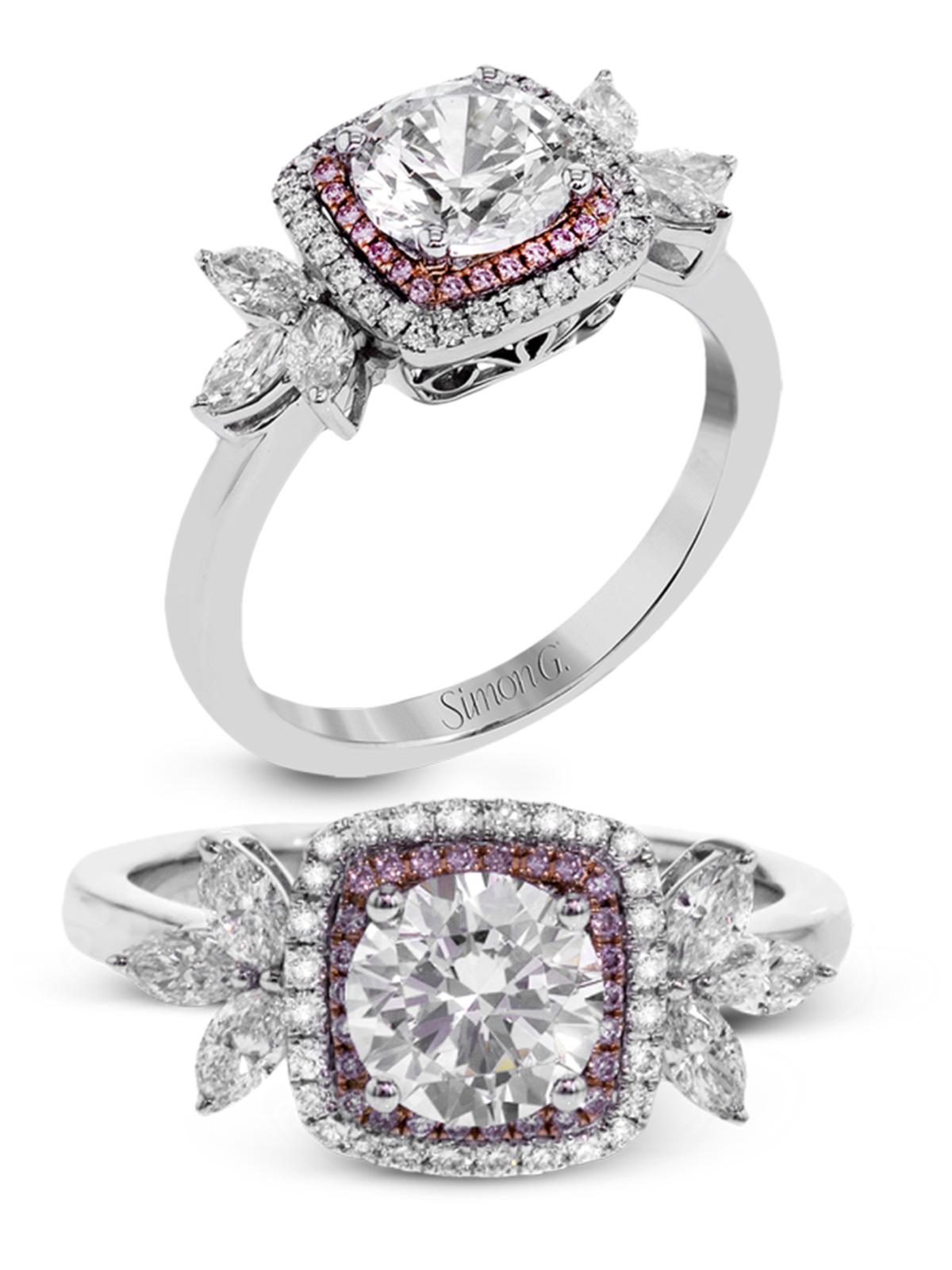 simon g jewelry 2017 trends diamond engagement ring mr2826 white gold rose gold pink diamonds halo ring