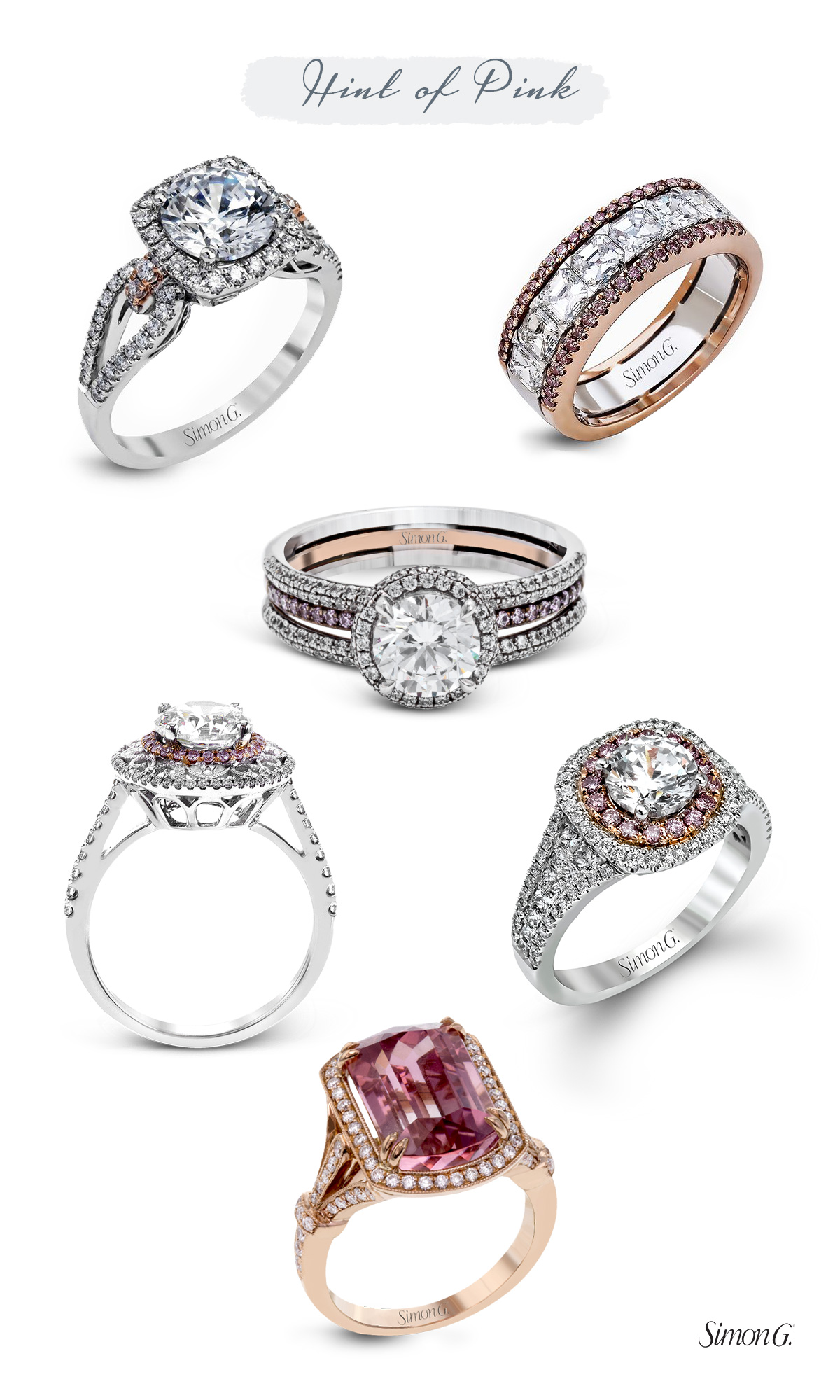 simon g jewelry 2017 trends engagement rings rose gold white gold rose gold pink diamonds halo watermelon tourmaline