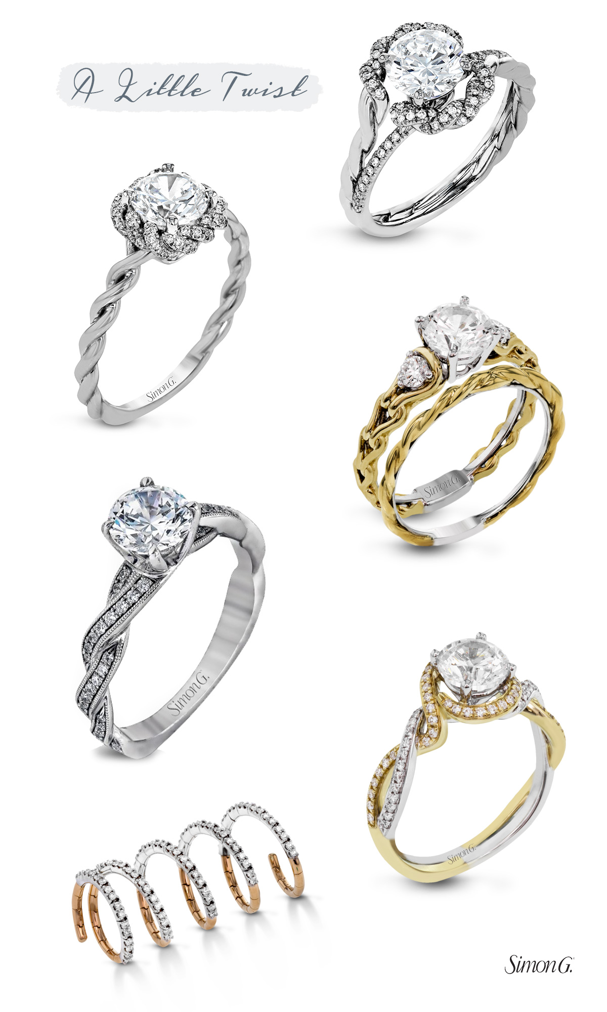 simon g jewelry 2017 trends engagement rings twist shank halo diamond ring