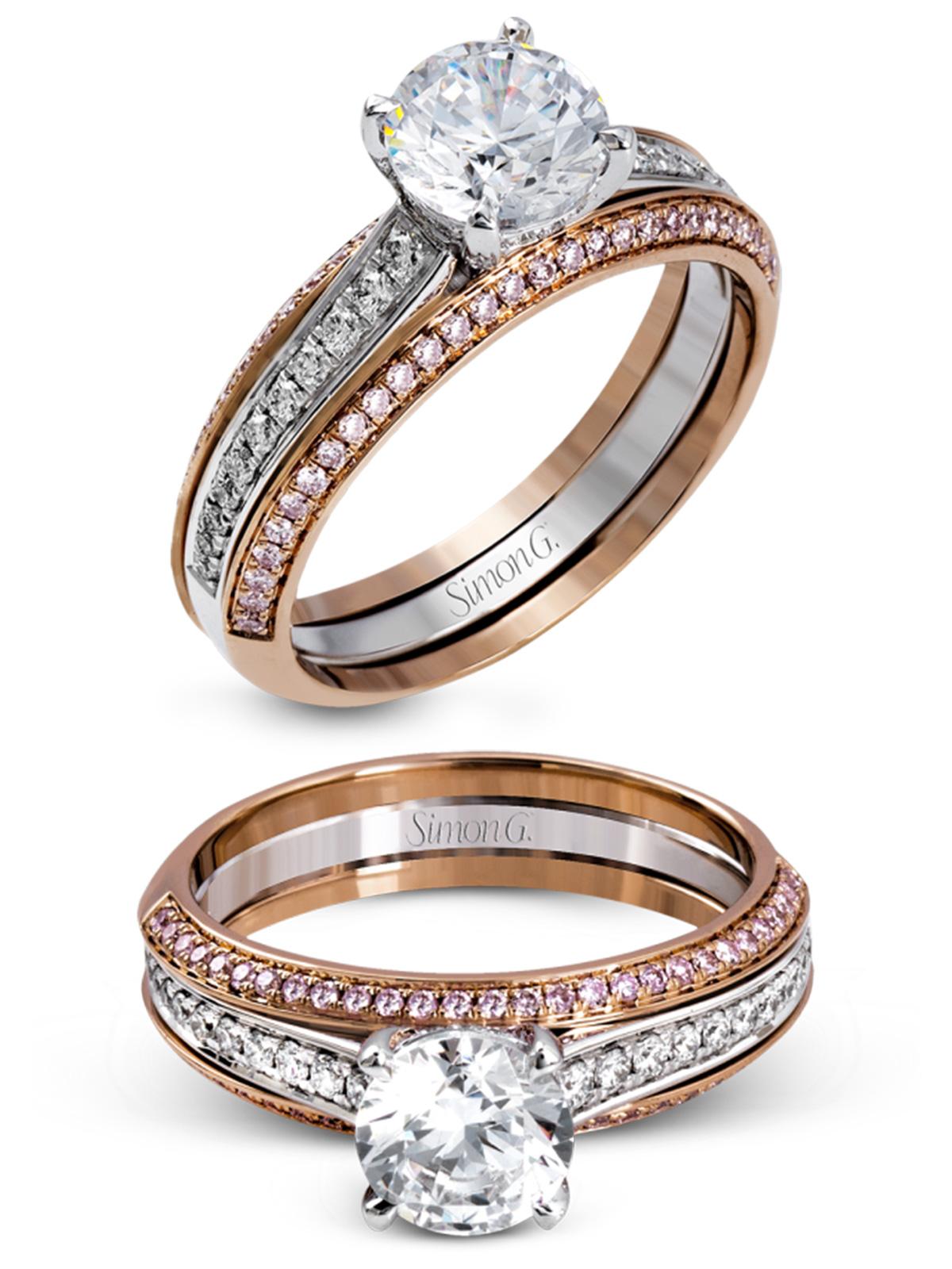 simon g jewelry 2017 wedding trends diamond engagement ring MR2713  white gold rose gold pink diamonds e ring