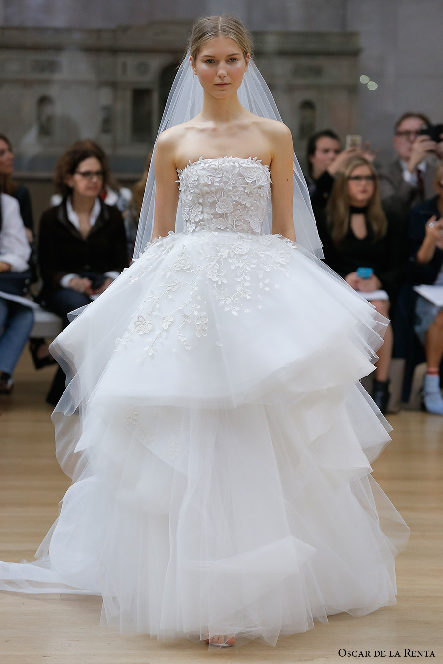 strapless straight across neckline heavily embellished bodice layered skirt ball gown wedding dress chapel train