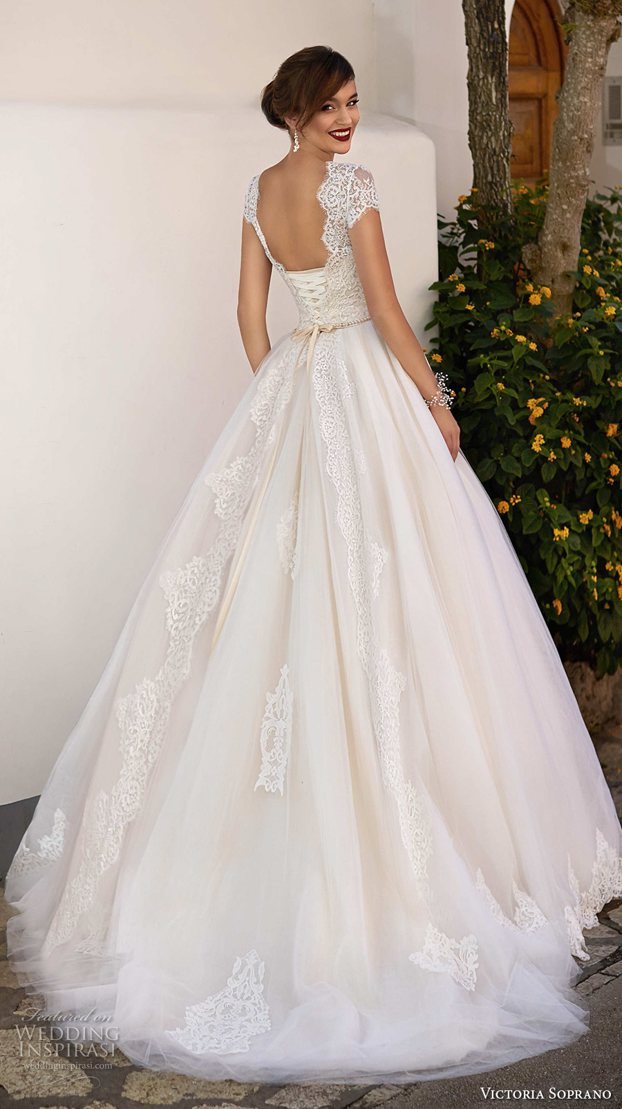victoria soprano 2017 bridal cap sleeves illusion bateau sweetheart neck heavily embellished bodice romantic a  line wedding dress corset back chapel train (ornella) bv