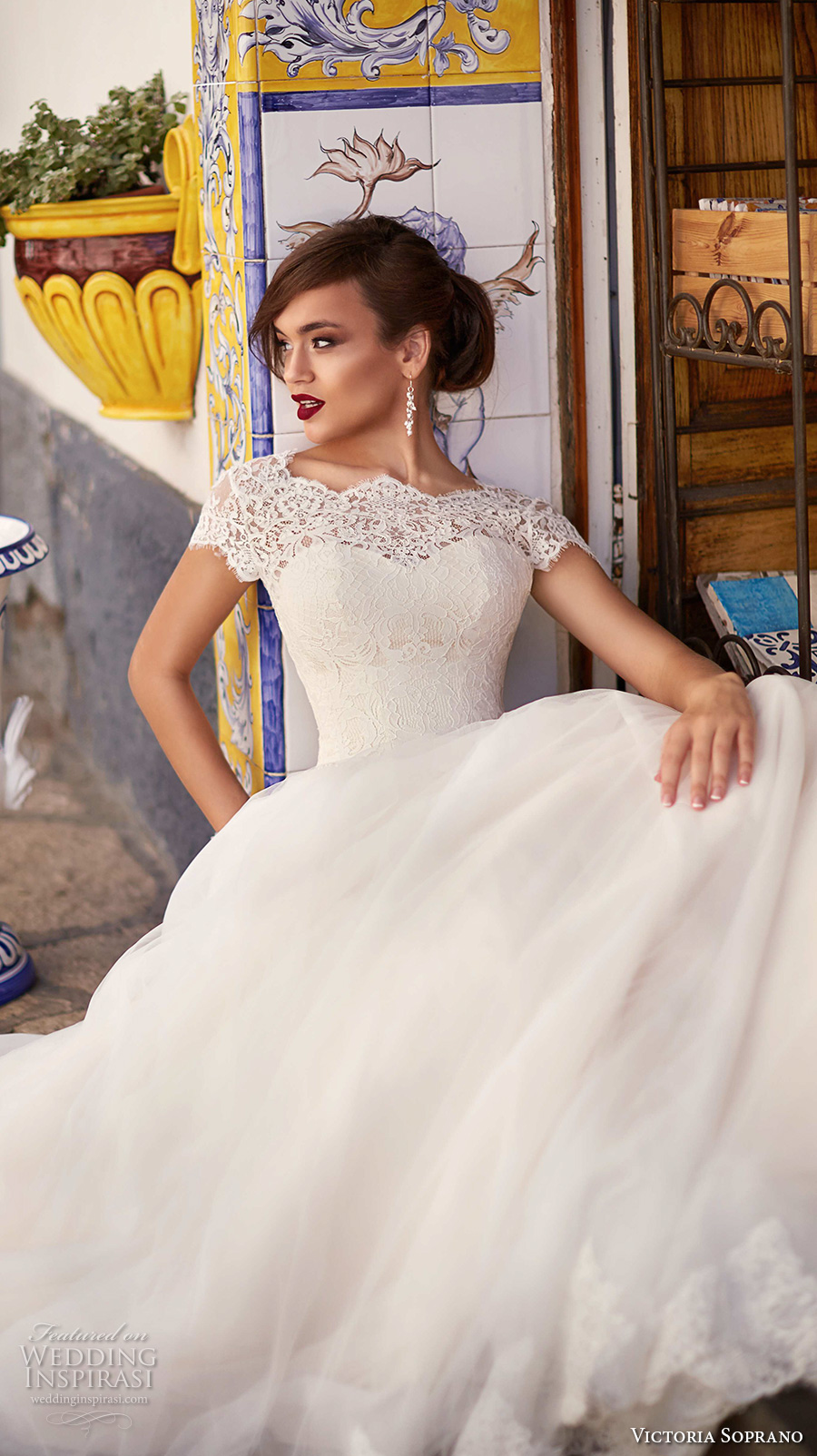 victoria soprano 2017 bridal cap sleeves illusion bateau sweetheart neck heavily embellished bodice romantic a  line wedding dress corset back chapel train (ornella) zv