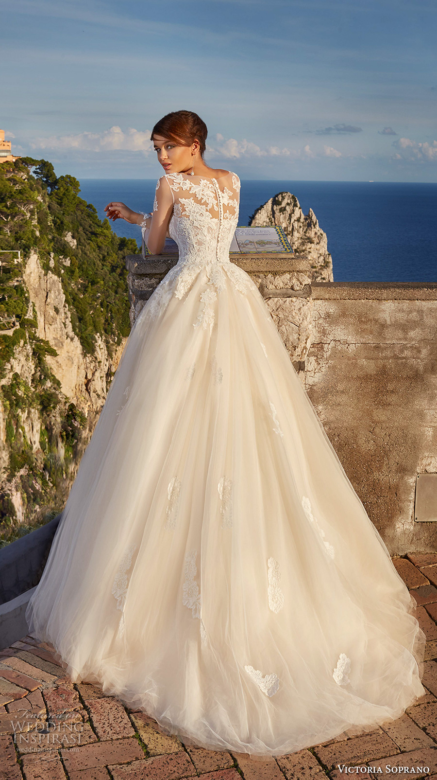 victoria soprano 2017 bridal cap sleeves illusion bateau sweetheart neckline bustier heavily embellished bodice romantic blush a  line ball gown wedding dress sheer lace back chapel train (10) bv
