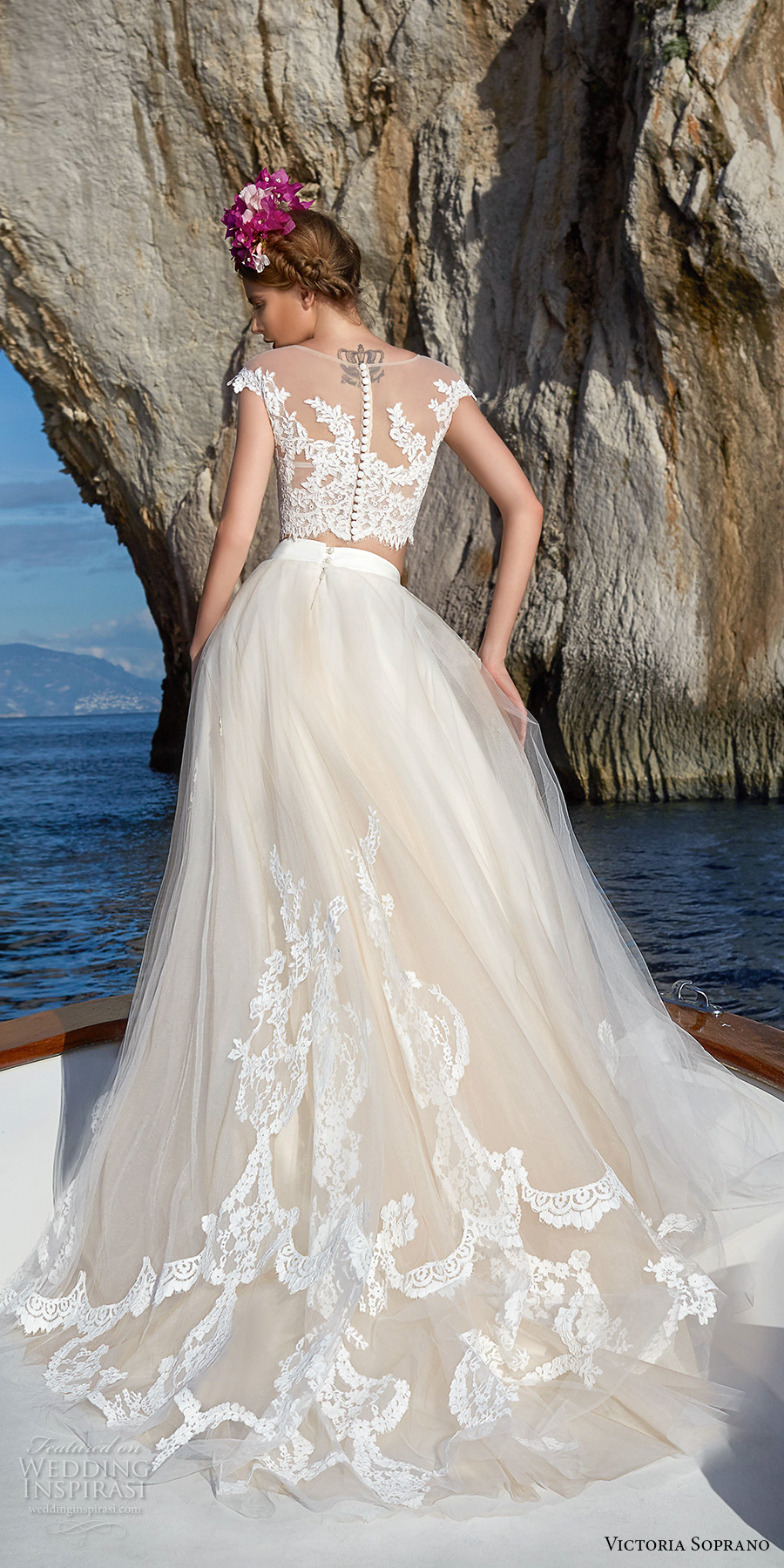 victoria soprano 2017 bridal cap sleeves illusion jewel neck heavily embellished bodice crop top 2 piece romantic a  line wedding dress sheer lace back chapel train (1) bv