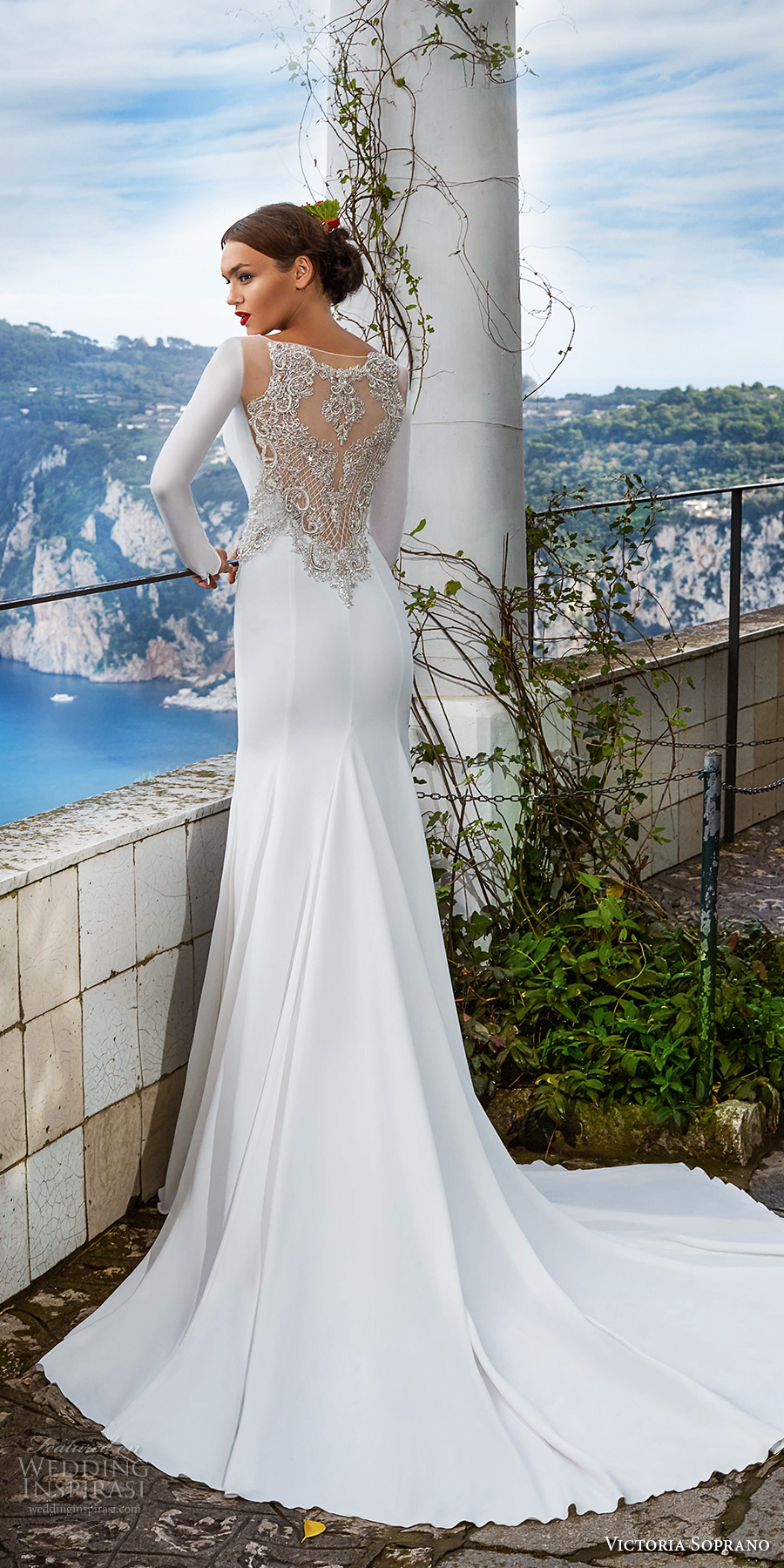 victoria soprano 2017 bridal long sleeves bateau neck simple clean elegant sophiscated side slit sheath wedding dress lace back chapel train (estella) bv