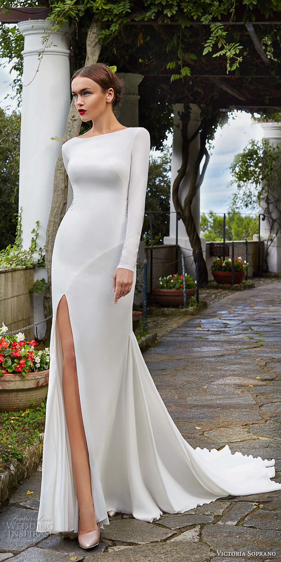 victoria soprano 2017 bridal long sleeves bateau neck simple clean elegant sophiscated side slit sheath wedding dress lace back chapel train (estella) mv