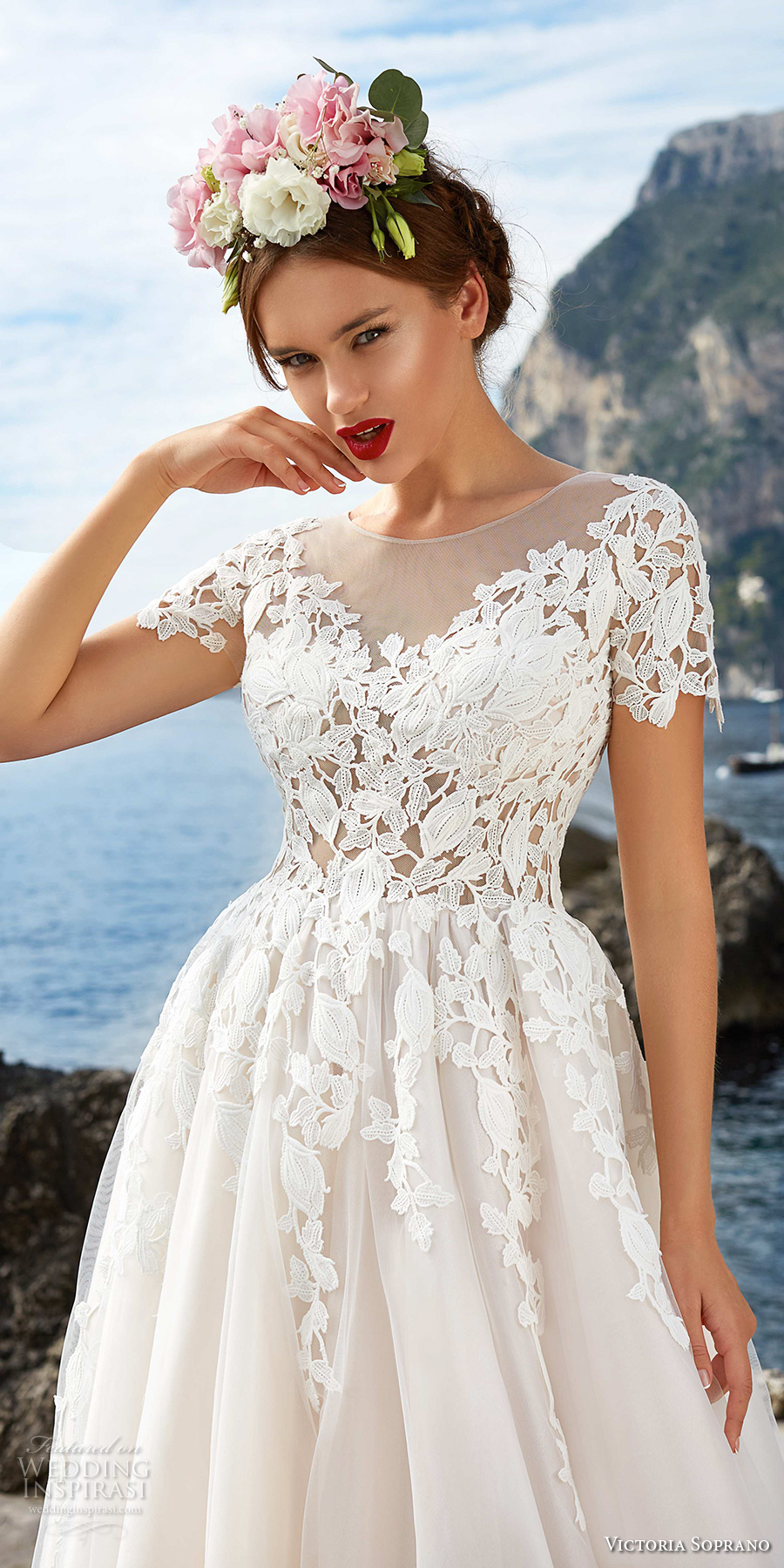 victoria soprano 2017 bridal short sleeves sheer bateau sweetheart neckline heavily embellished bodice beautiful romantic a  line wedding dress sheer button back chapel train (5) zv