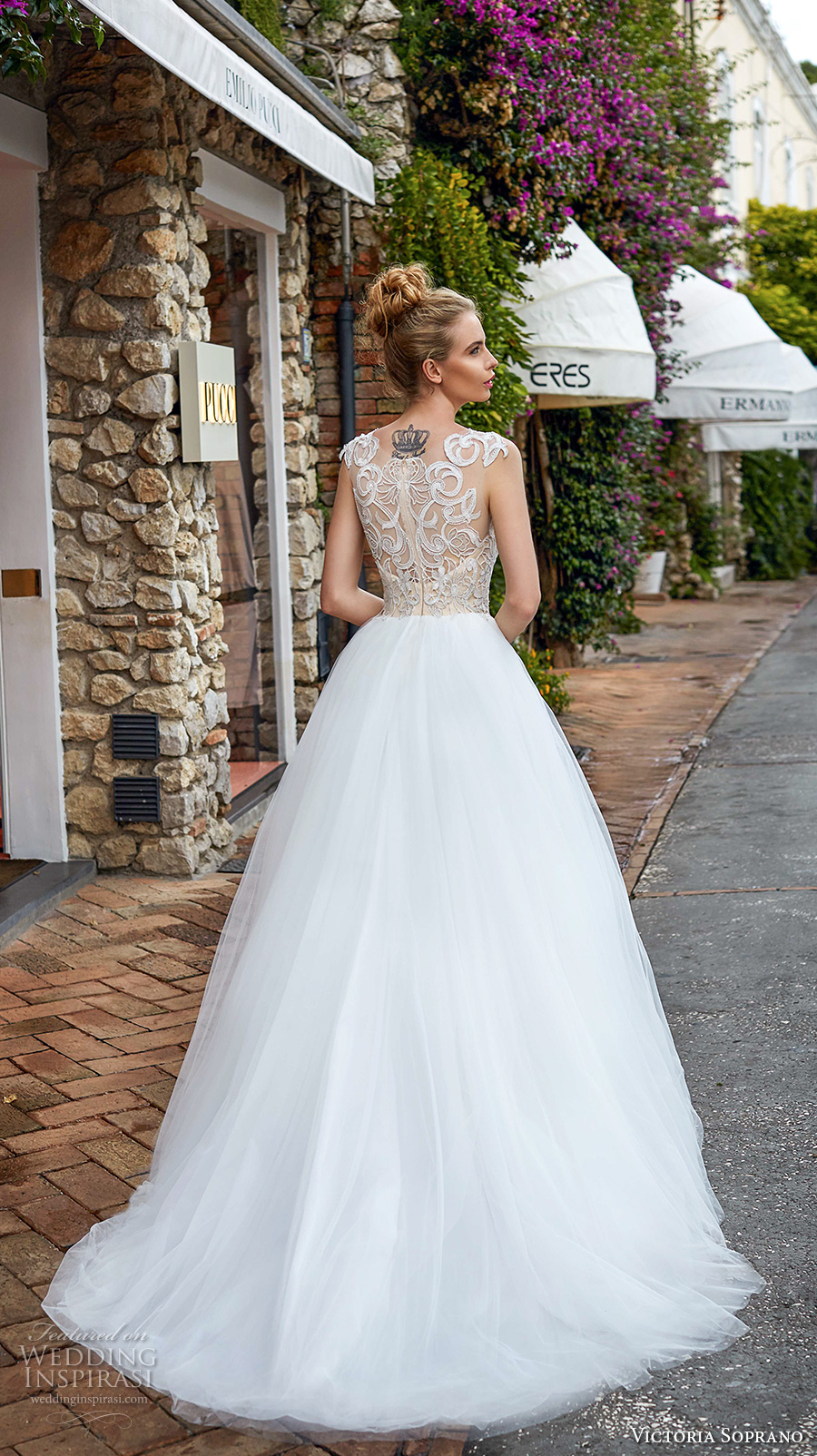 victoria soprano 2017 bridal sleeveless square neck heavily embellished bodice gold top tulle skirt romantic glamorous a  line wedding dress with pockets covered lace back sweep train (12) bv