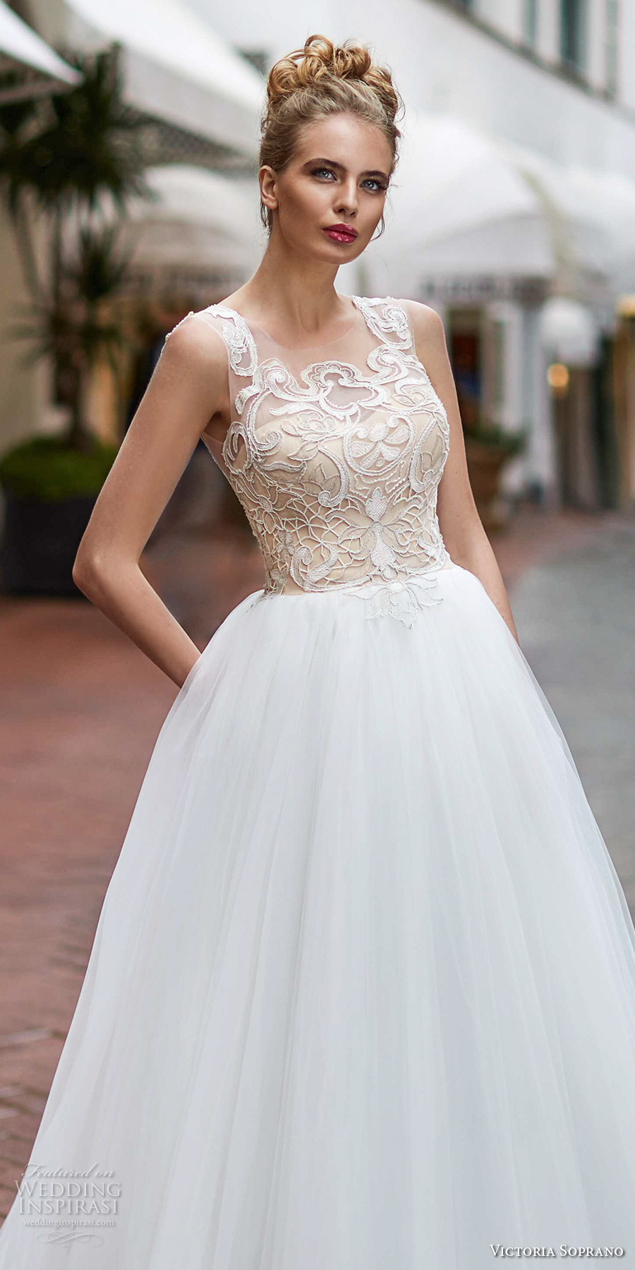 victoria soprano 2017 bridal sleeveless square neck heavily embellished bodice gold top tulle skirt romantic glamorous a  line wedding dress with pockets covered lace back sweep train (12) zv