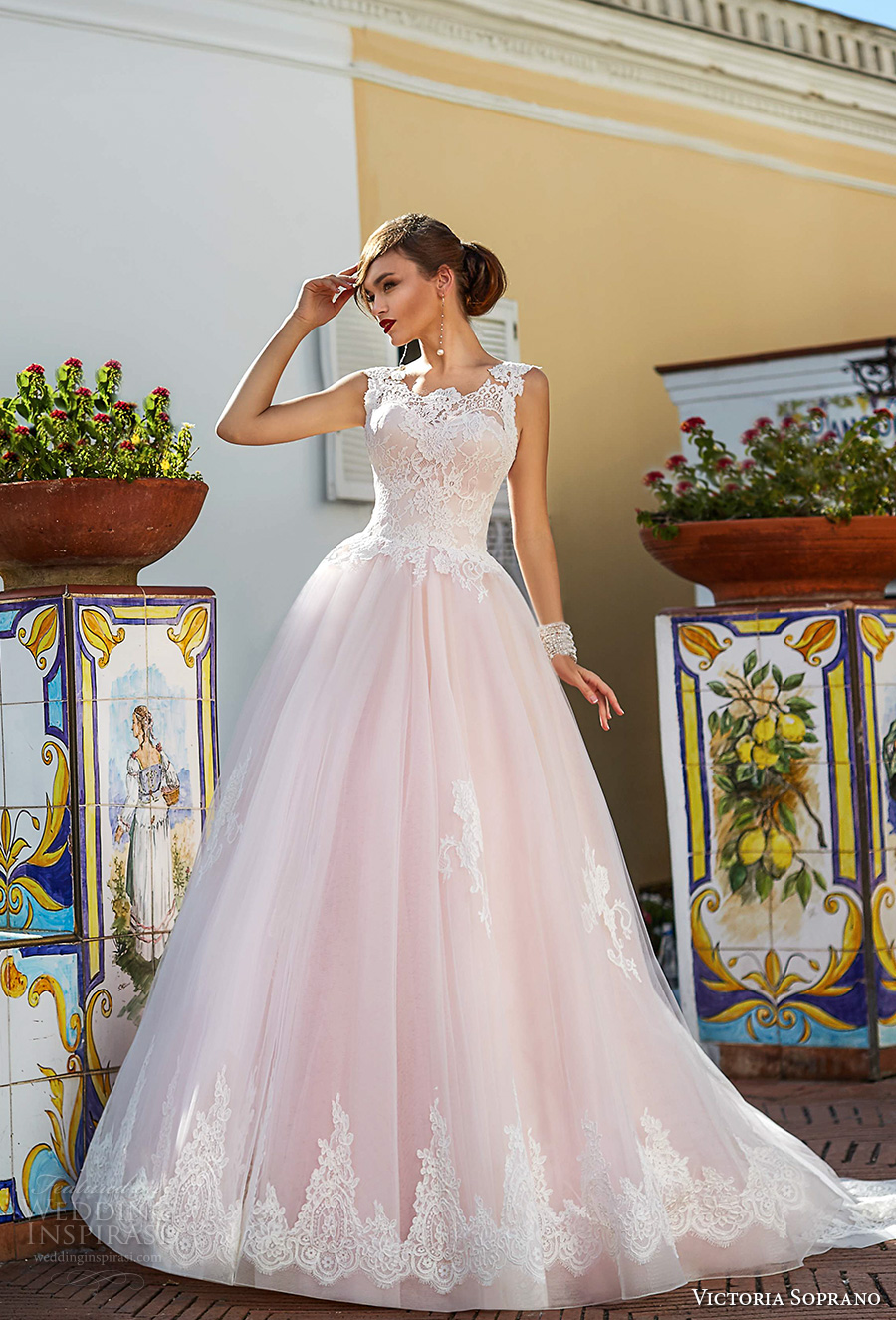 victoria soprano 2017 bridal sleeveless thick strap round neck heavily embellished bodice romantic princess pink ball gown a  line wedding dress corset back chapel train (4) mv