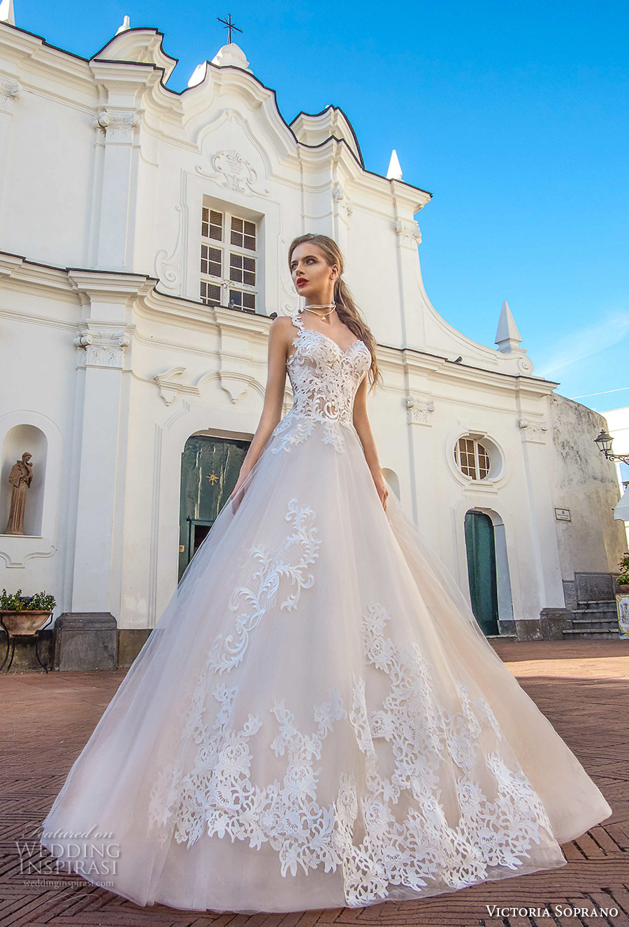 victoria soprano 2017 bridal thin strap sweetheart neckline heavily embellished bodice bustier romantic princess blush color a  line wedding dress chapel train (12a) mv