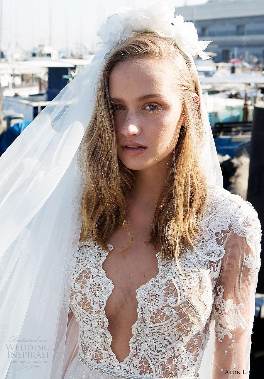 alon livne white pre 2018 bridal illusion long sleeves deep v neck sheer bodice lace a line wedding dress (kelly) fv  boho romantic veil