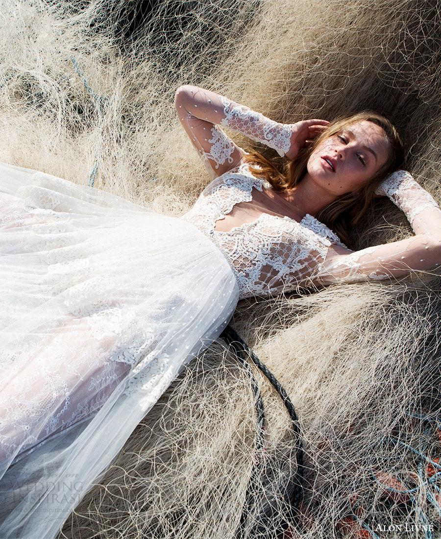 alon livne white pre 2018 bridal illusion long sleeves deep v neck sheer bodice lace a line wedding dress (kelly) fv   boho romantic