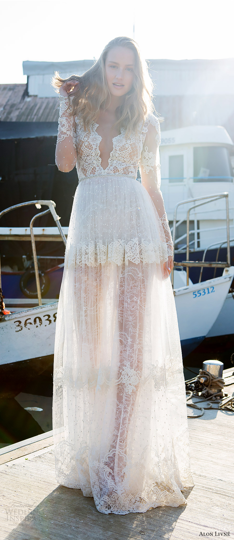 alon livne white pre 2018 bridal illusion long sleeves deep v neck sheer bodice lace a line wedding dress (kelly) mv boho romantic
