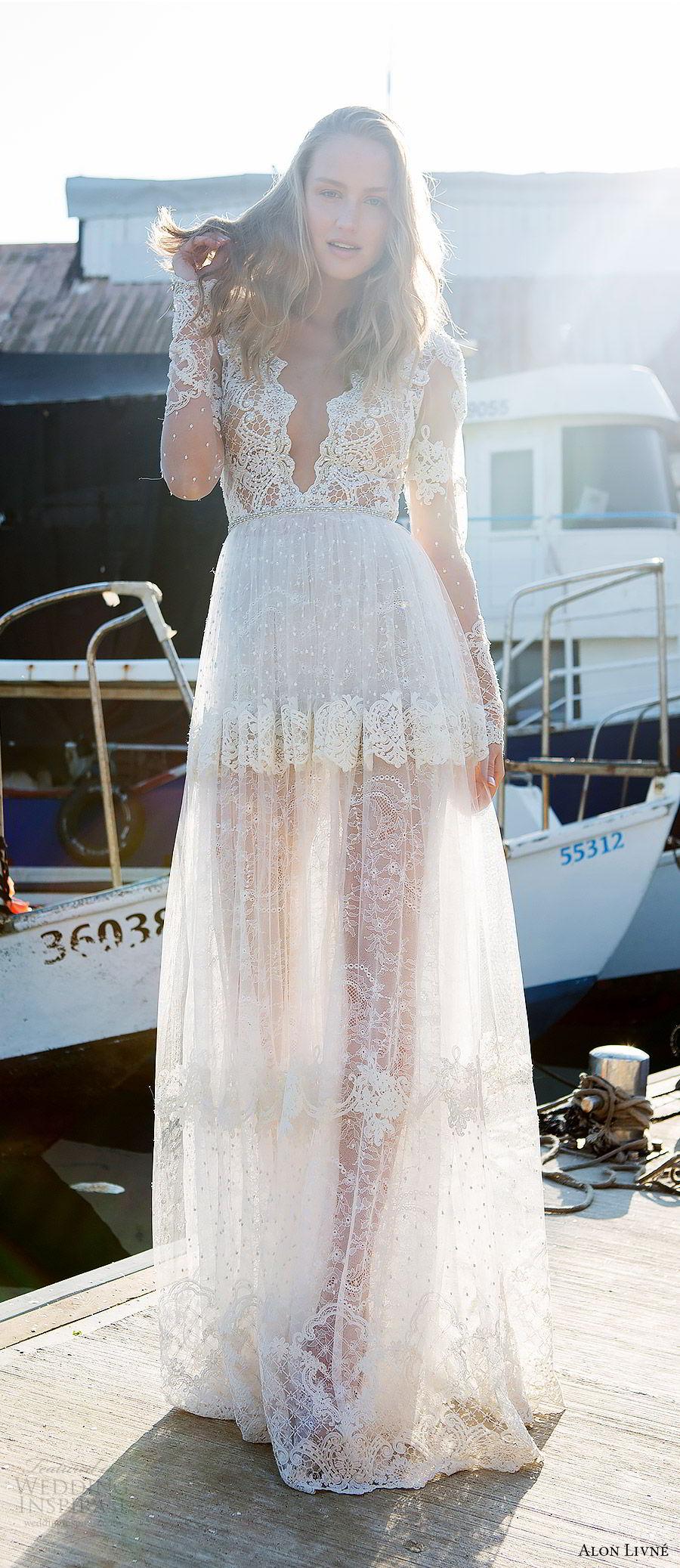 alon livne white pre 2018 bridal illusion long sleeves deep v neck sheer bodice lace a line wedding dress (kelly) mv  boho romantic