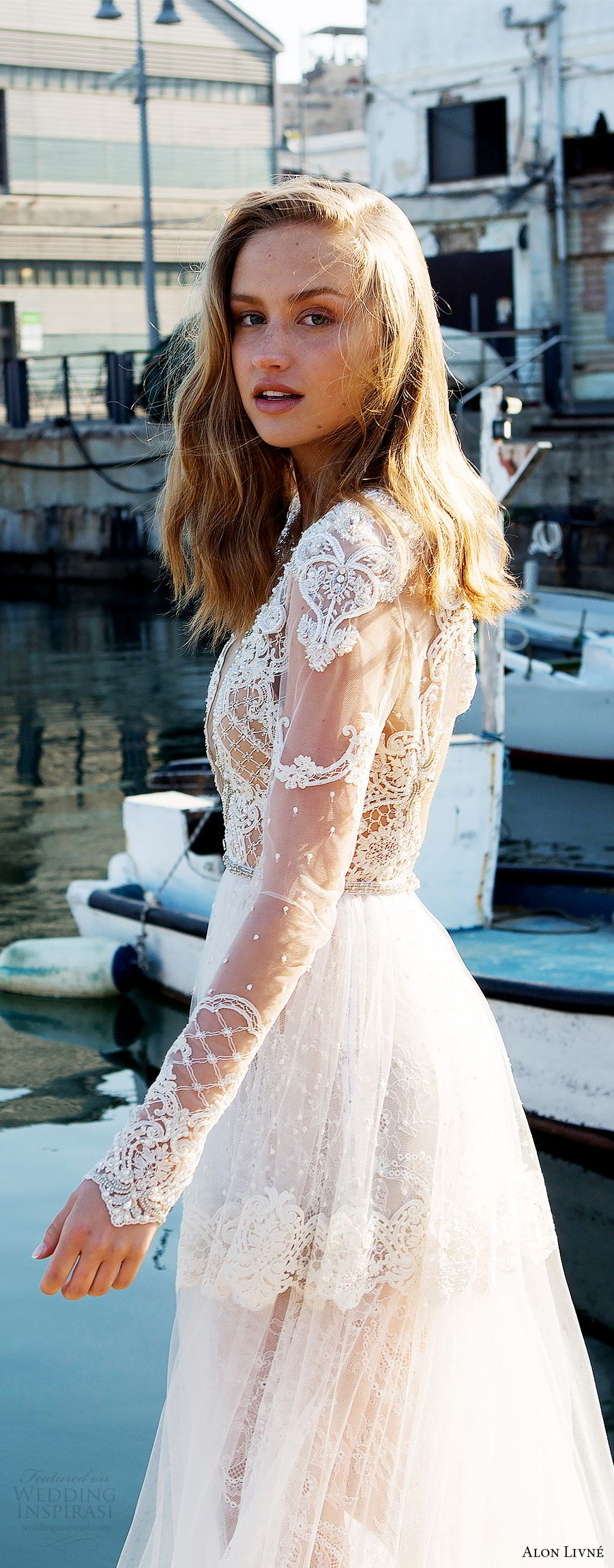 alon livne white pre 2018 bridal illusion long sleeves deep v neck sheer bodice lace a line wedding dress (kelly) sv boho romantic