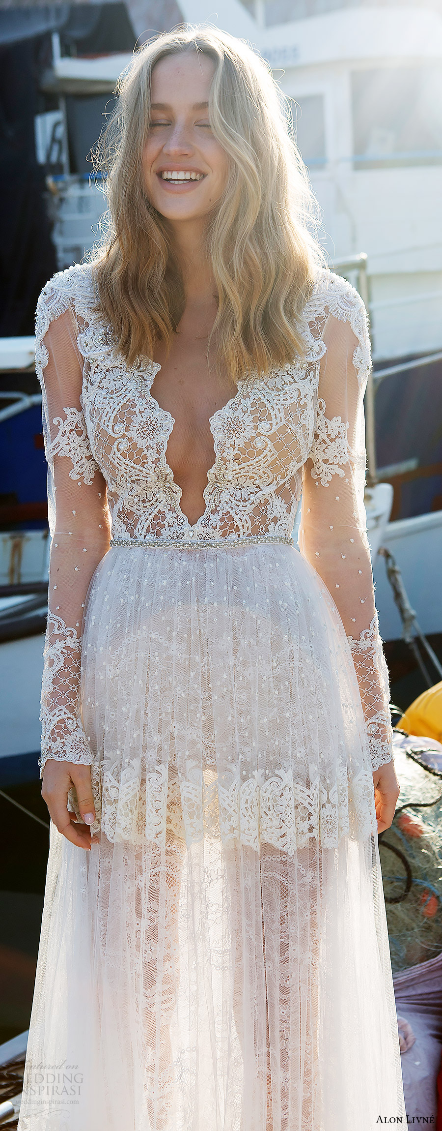 alon livne white pre 2018 bridal illusion long sleeves deep v neck sheer bodice lace a line wedding dress (kelly) zfv boho romantic