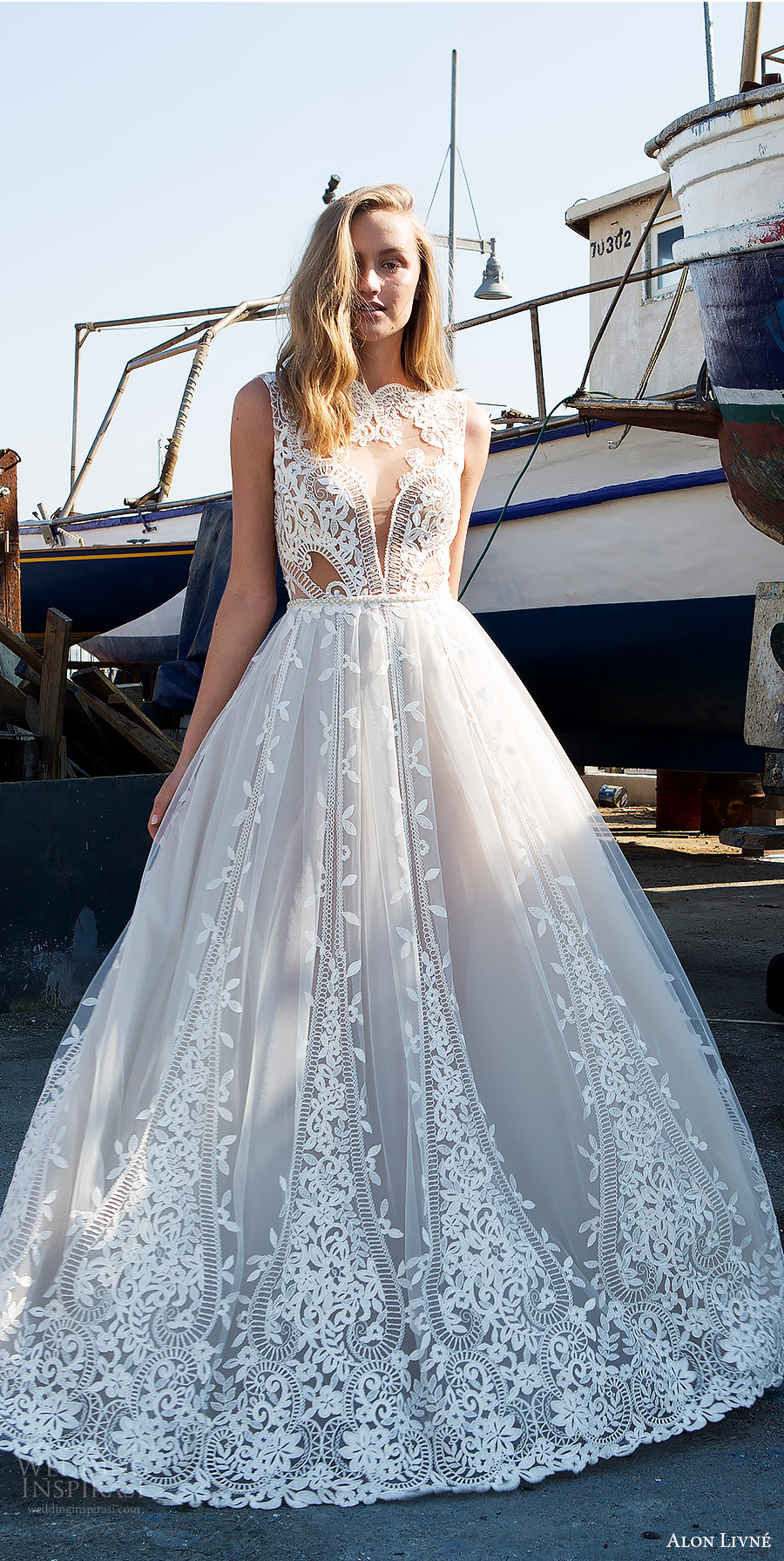 alon livne white pre 2018 bridal sleeveless jewel neck sheer bodice lace ball gown wedding dress (beatrice) mv princess romantic