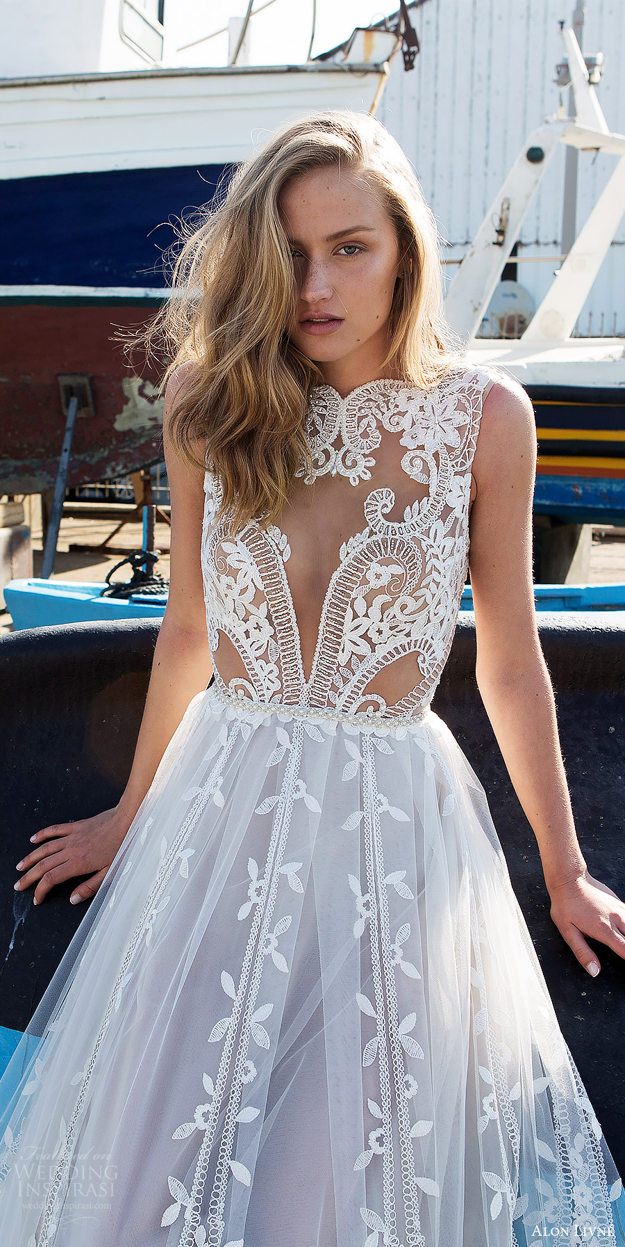 alon livne white pre 2018 bridal sleeveless jewel neck sheer bodice lace ball gown wedding dress (beatrice) zfv princess romantic