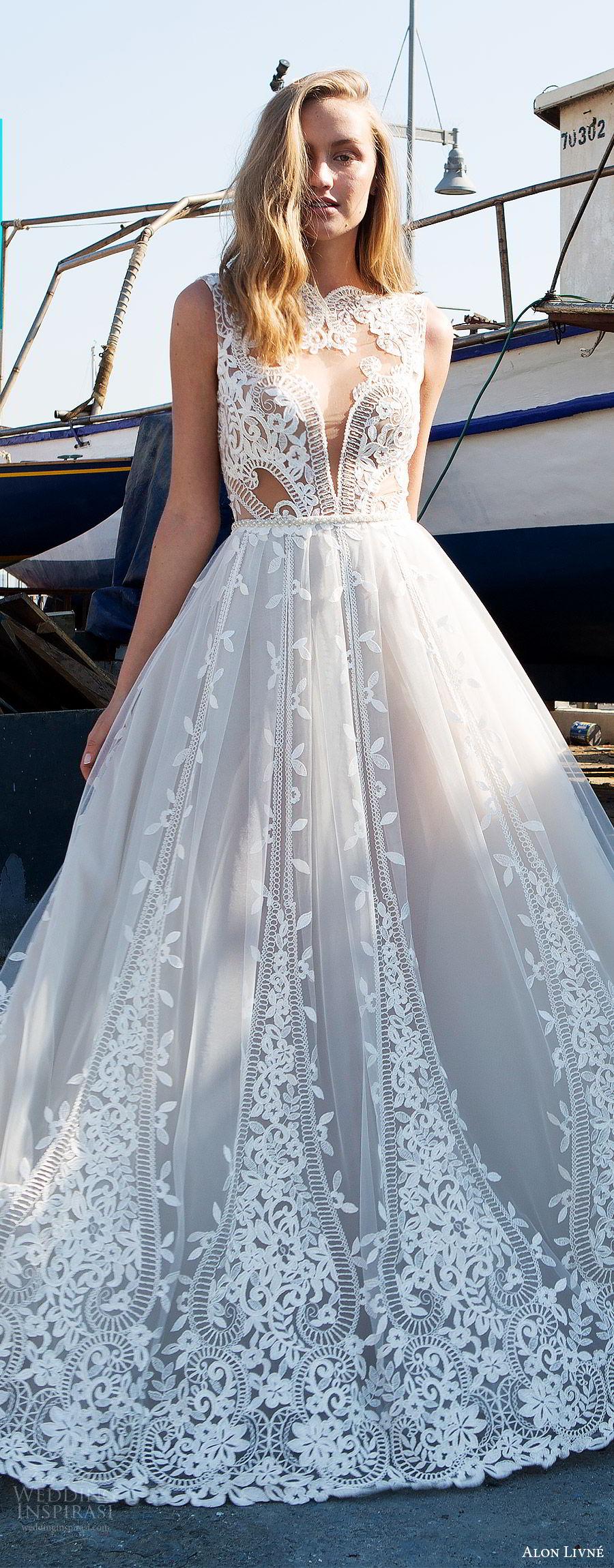 alon livne white pre 2018 bridal sleeveless jewel neck sheer bodice lace ball gown wedding dress (beatrice) zv princess romantic