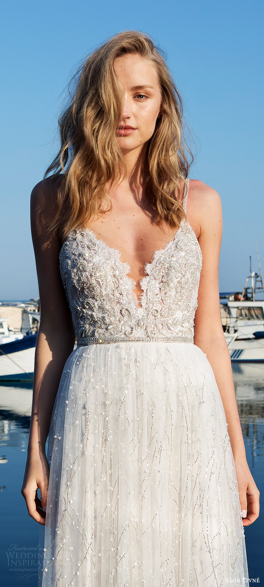 alon livne white pre 2018 bridal sleeveless thin straps sweetheart heavily embellished lace a line wedding dress (anissa) fv romantic elegant