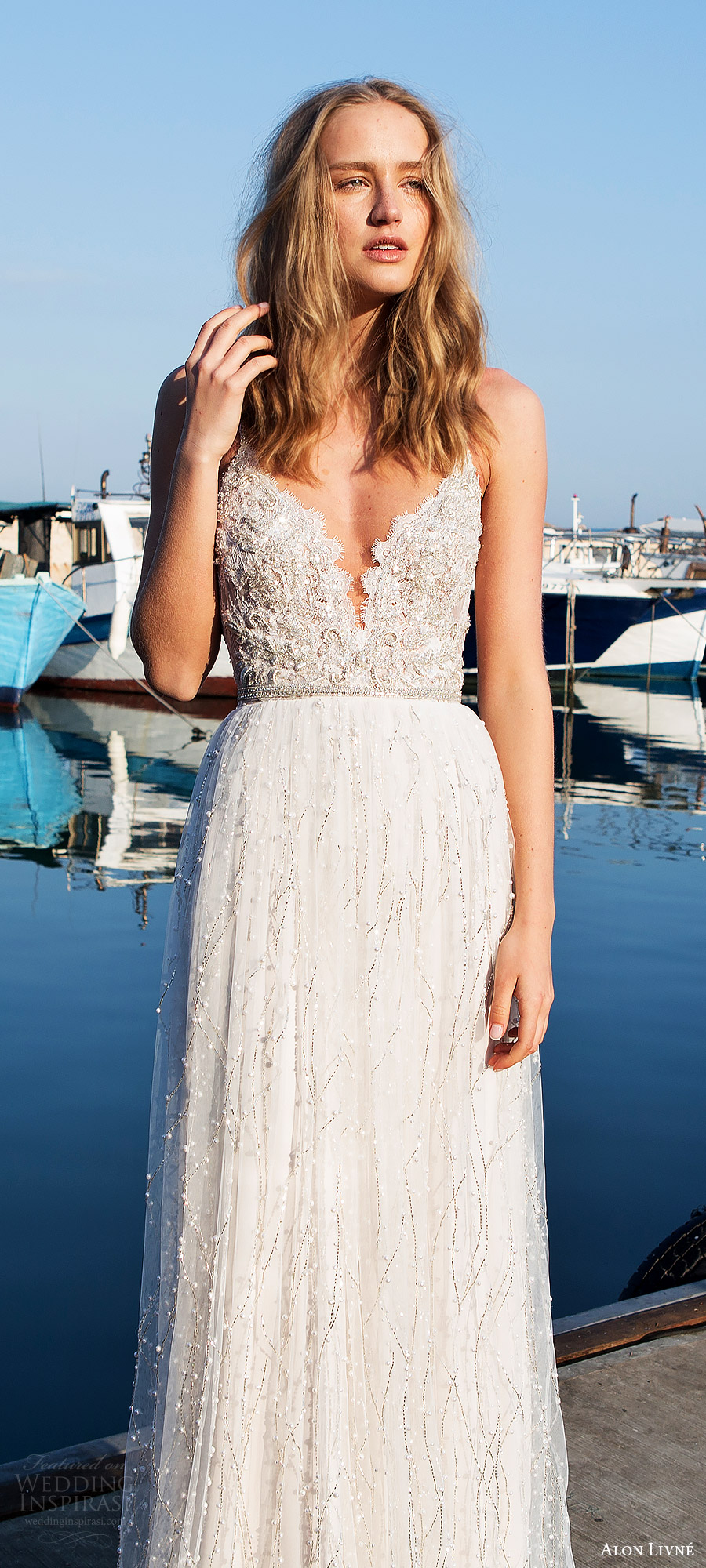 alon livne white pre 2018 bridal sleeveless thin straps sweetheart heavily embellished lace a line wedding dress (anissa) mv romantic elegant
