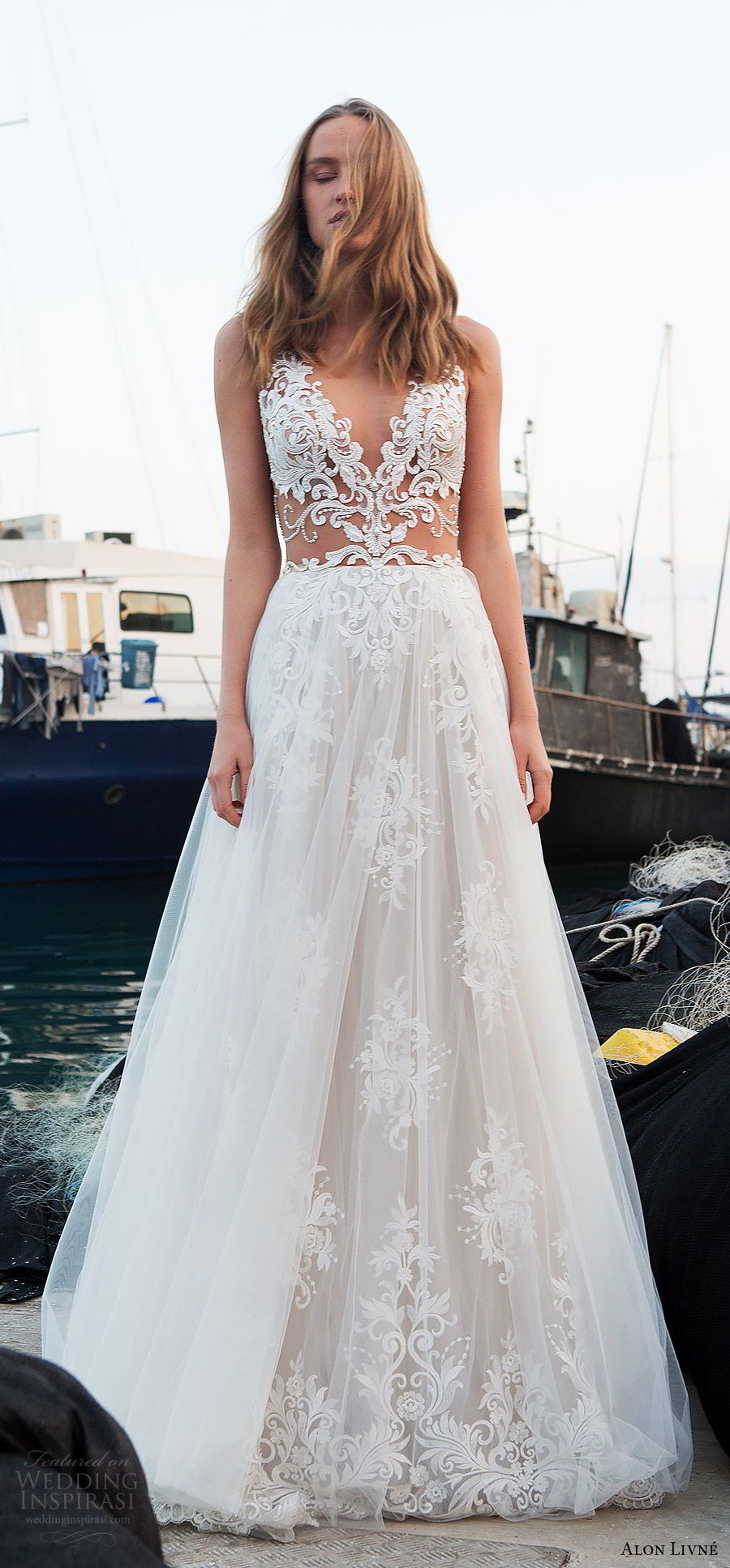alon livne white pre 2018 bridal sleeveless v neck beaded sheer bodice lace a line wedding dress (christine) mv sexy romantic